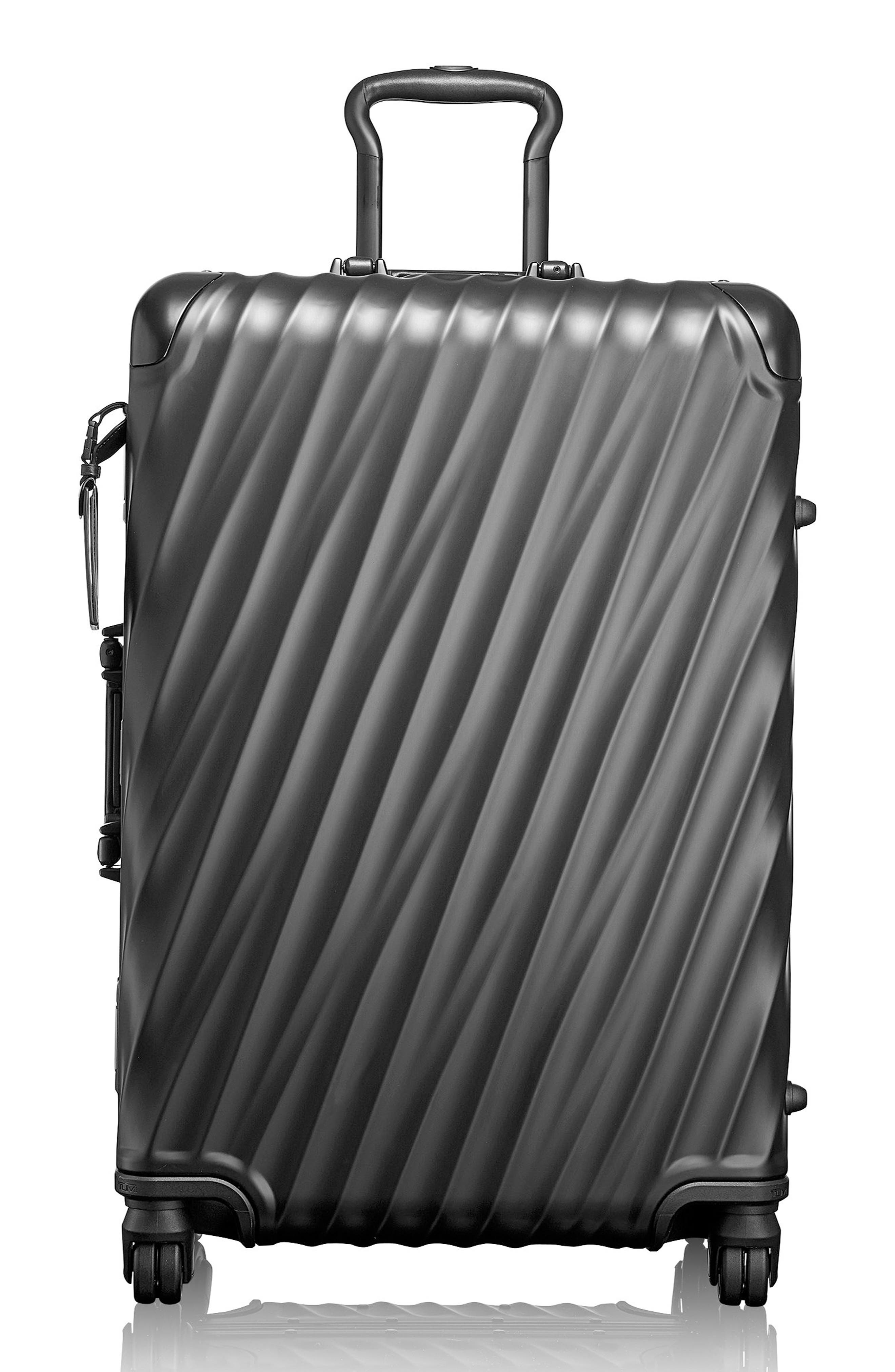 19-Degree Collection 26-Inch Wheeled Aluminum Short Trip Packing Case,                             Main thumbnail 1, color,                             MATTE BLACK