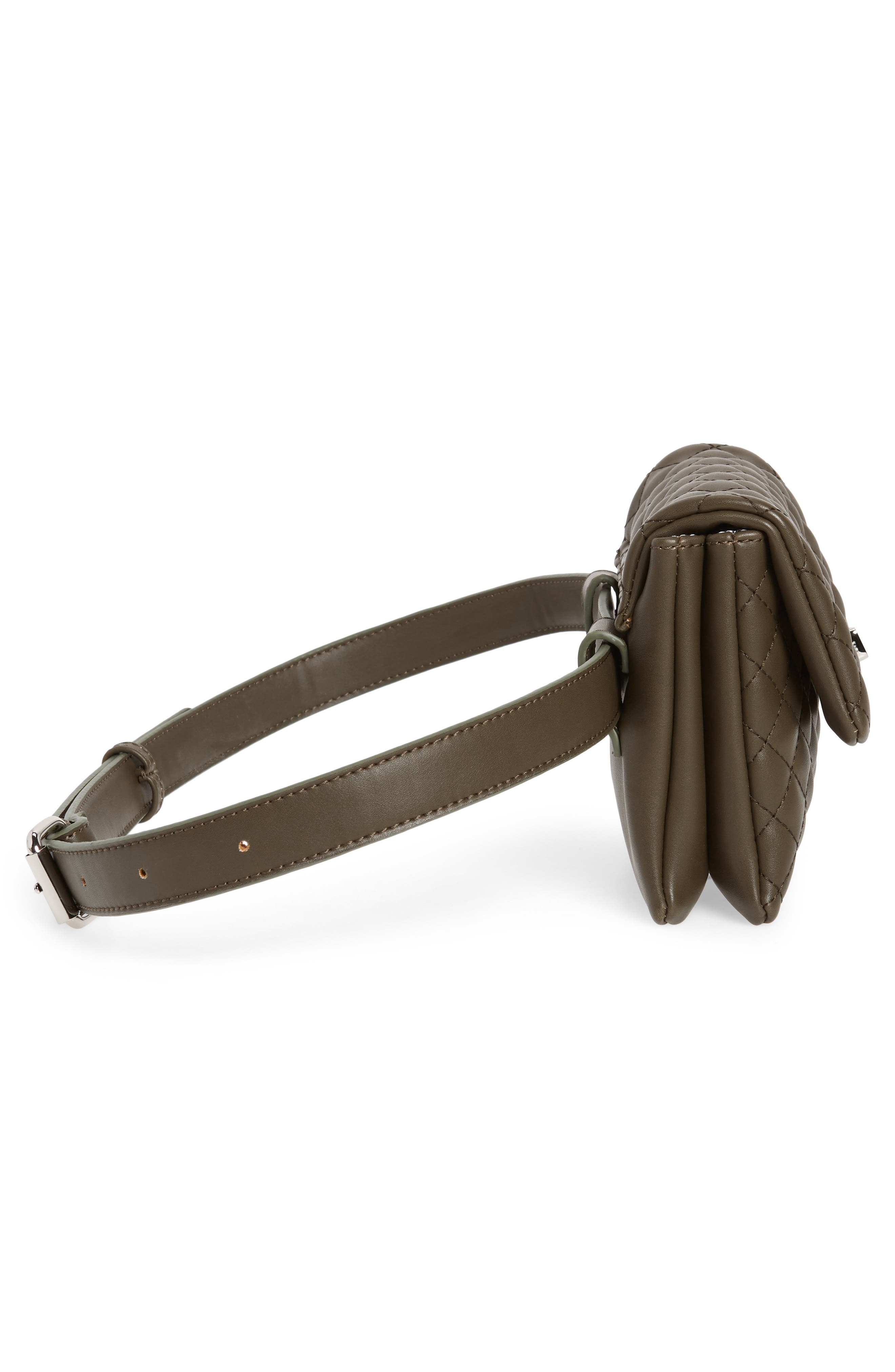 Mali + Lili Quilted Vegan Leather Convertible Belt Bag,                             Alternate thumbnail 7, color,                             OLIVE