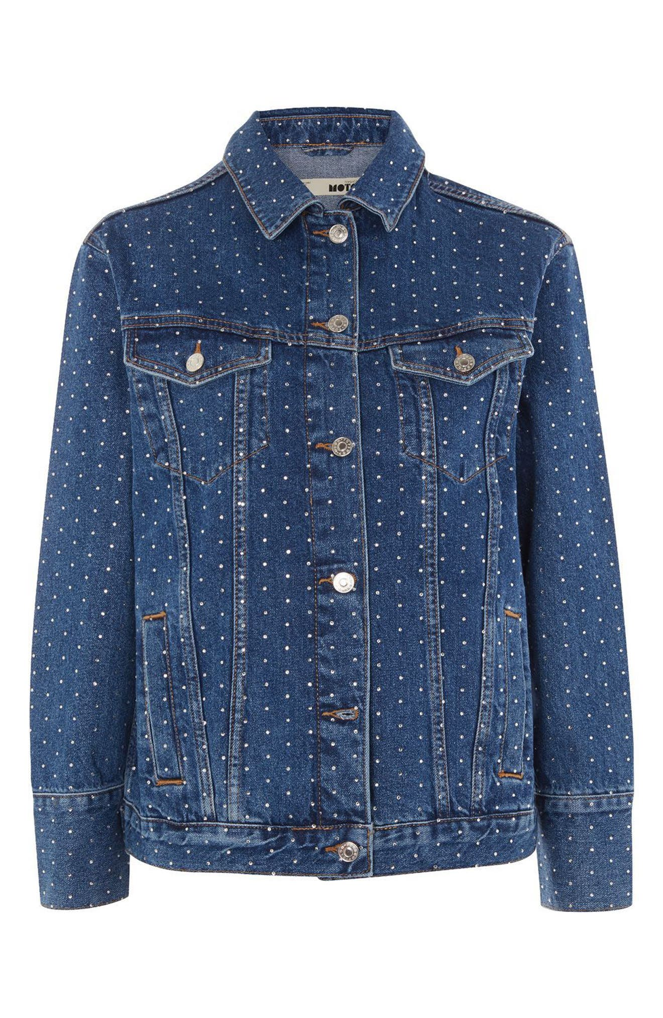 Crystal Studded Denim Jacket,                             Alternate thumbnail 3, color,                             400