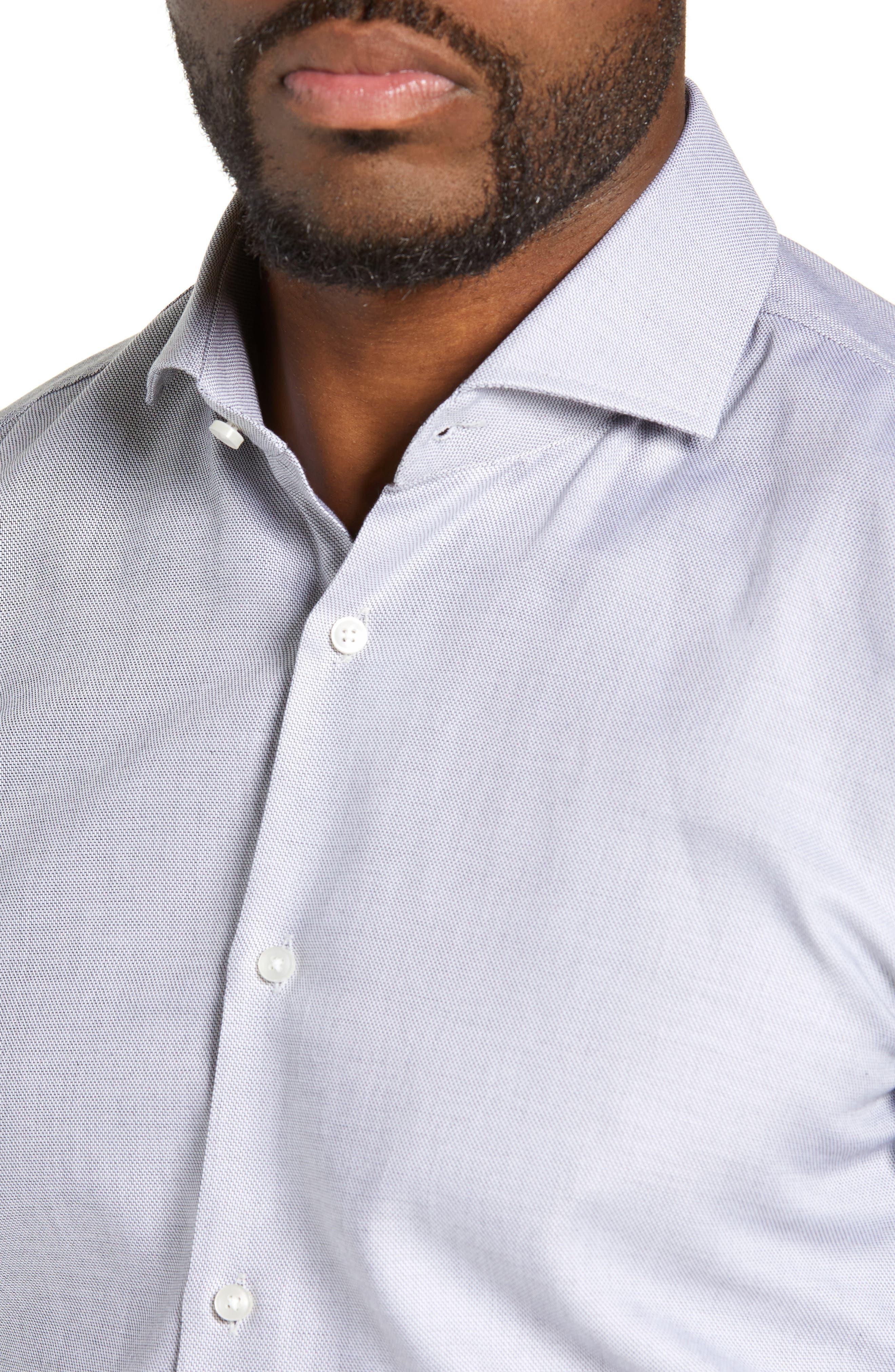 Jason Trim Fit Solid Dress Shirt,                             Alternate thumbnail 2, color,                             BLACK