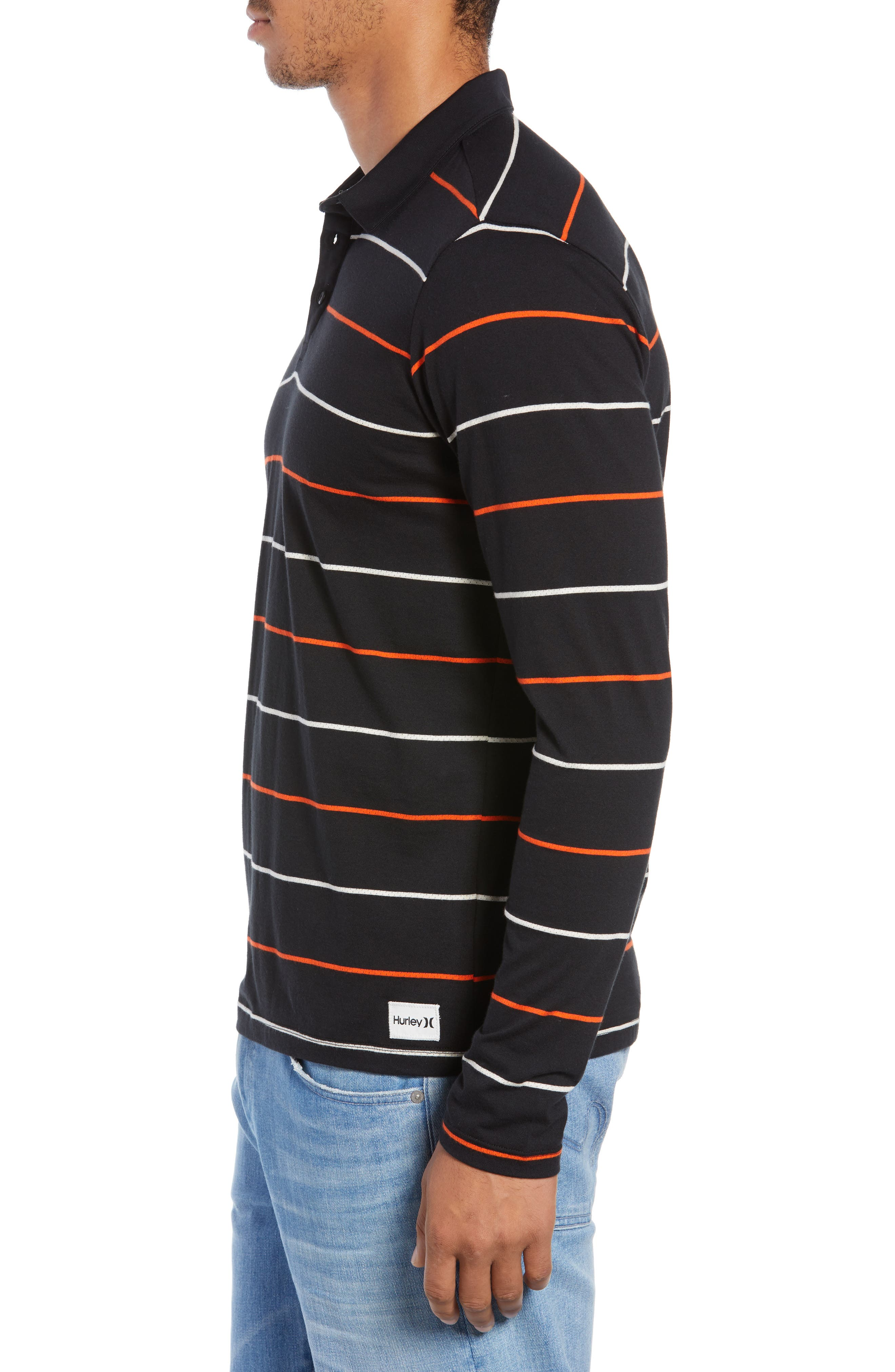 Channels Striped Long Sleeve Polo,                             Alternate thumbnail 3, color,                             BLACK