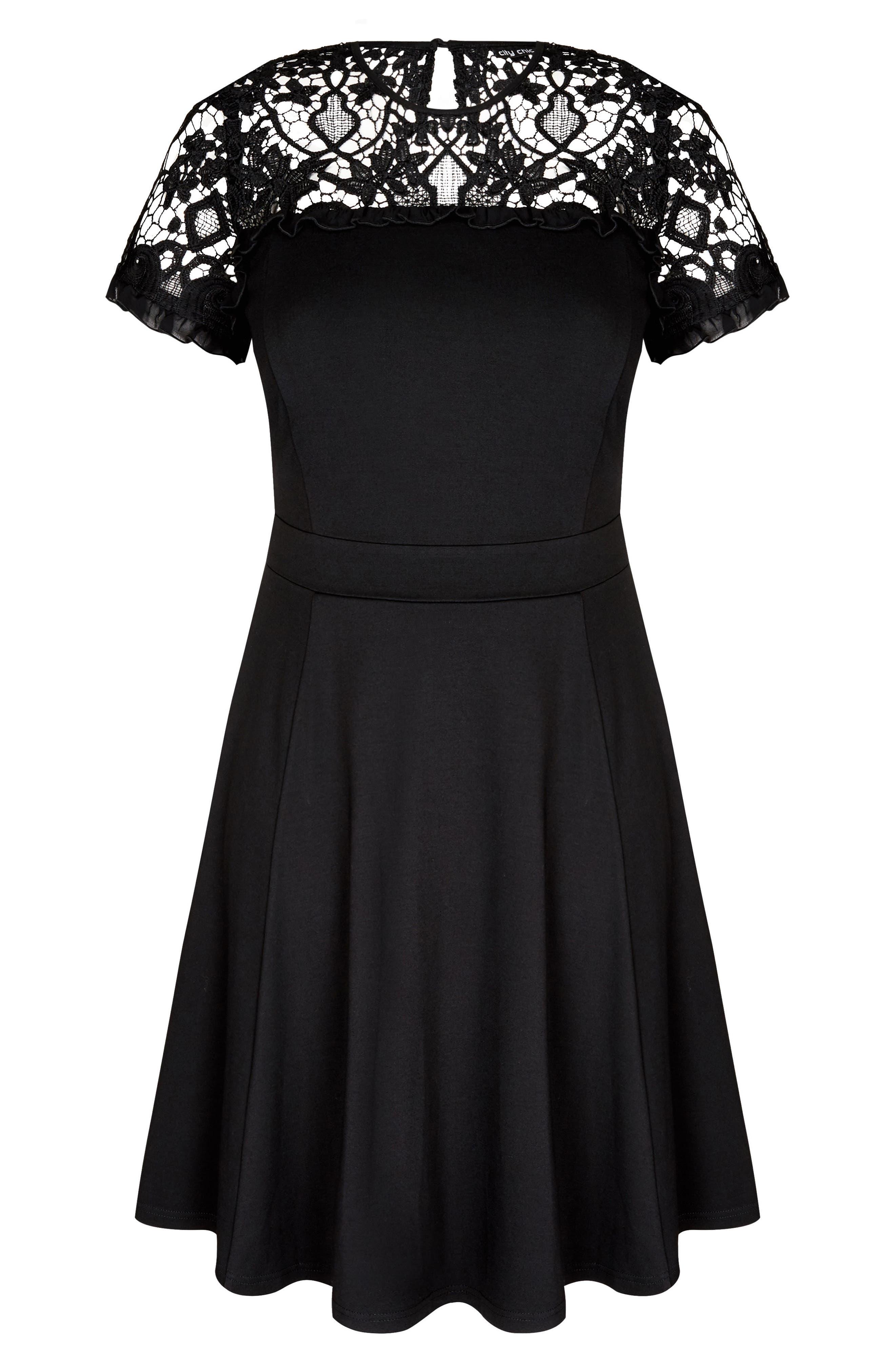 CITY CHIC,                             Dark Mistress Lace Yoke A-Line Dress,                             Alternate thumbnail 3, color,                             014