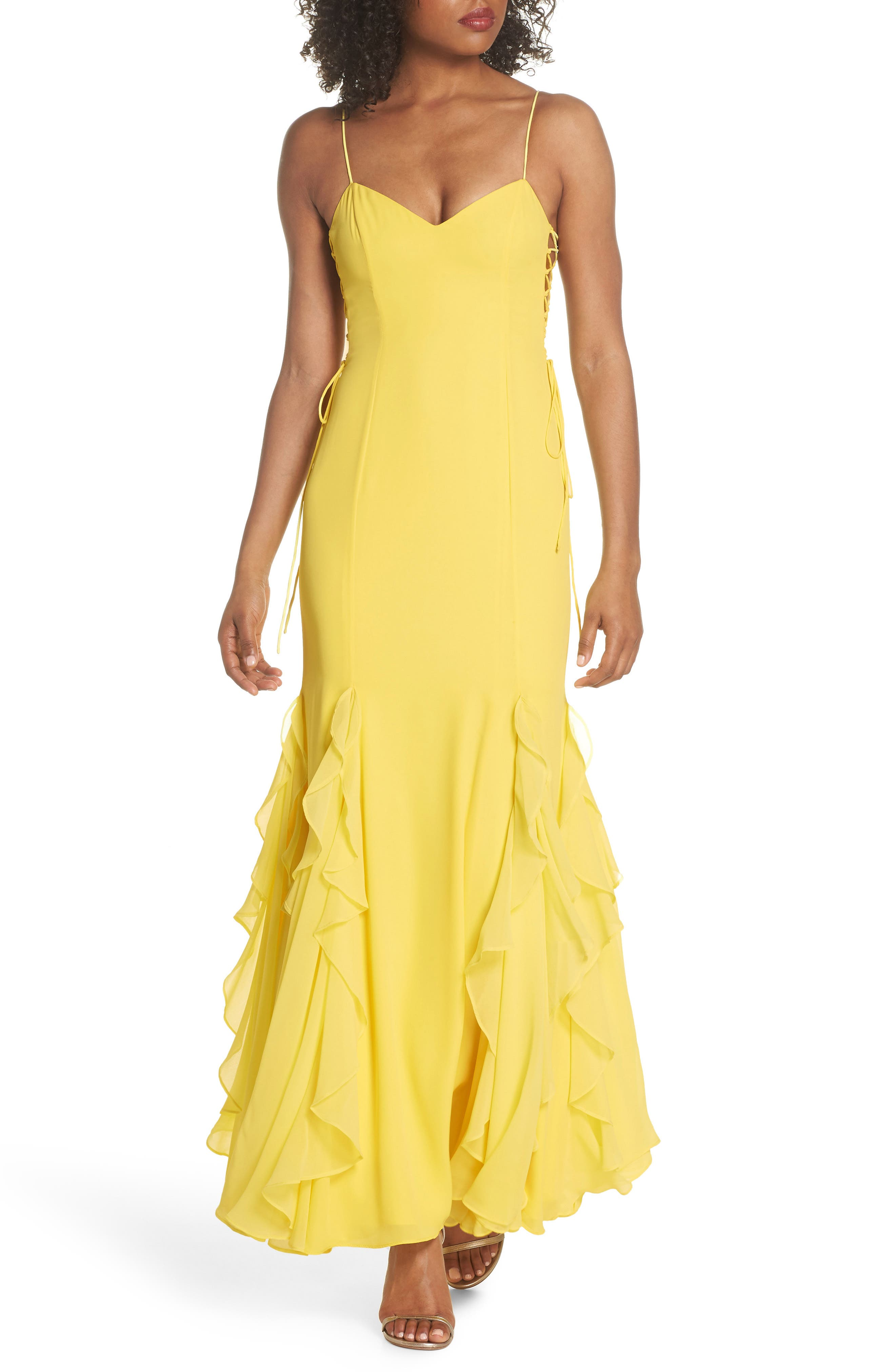 Lara Lace-Up Georgette Gown,                             Main thumbnail 1, color,                             740