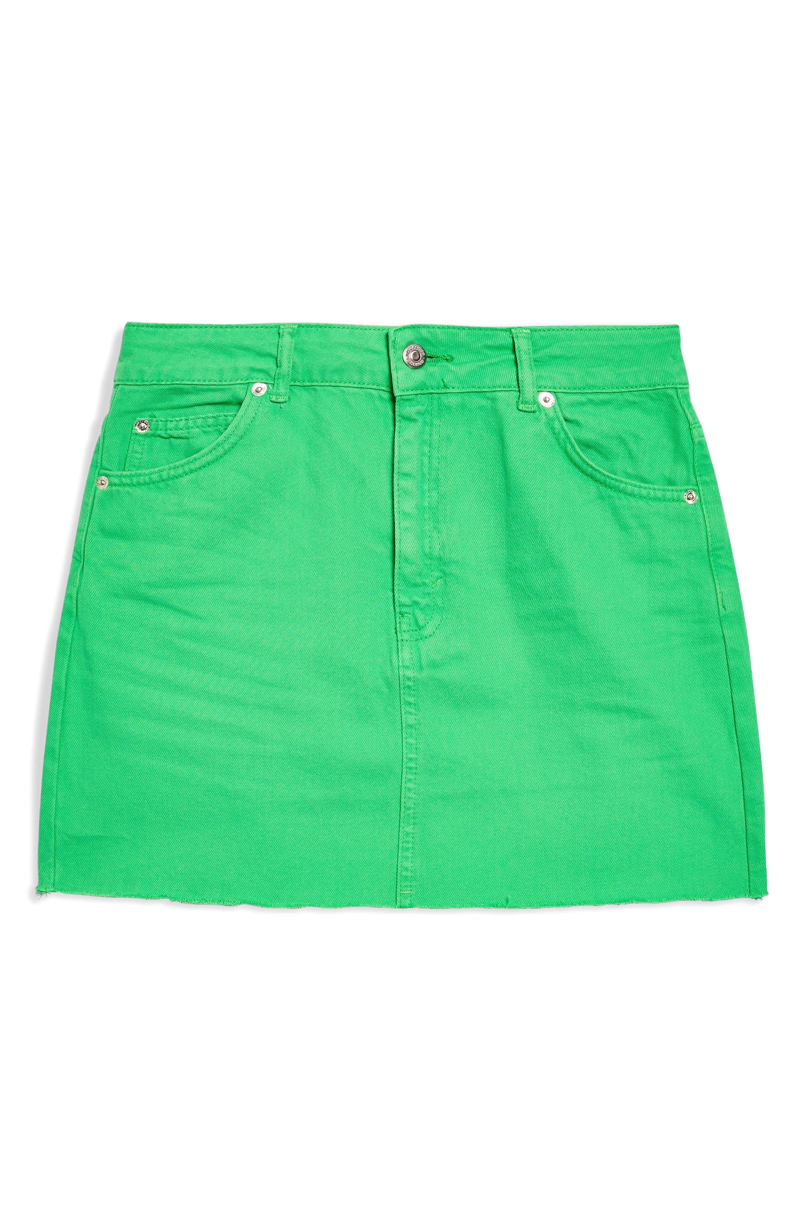MOTO High Waist Denim Skirt,                             Alternate thumbnail 3, color,                             320