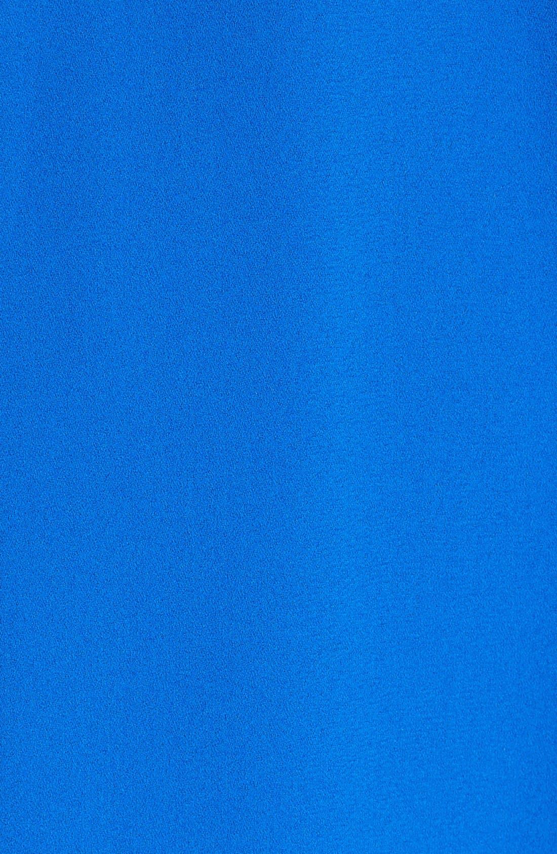 Leather Trim Trapeze Crepe Dress,                             Alternate thumbnail 4, color,