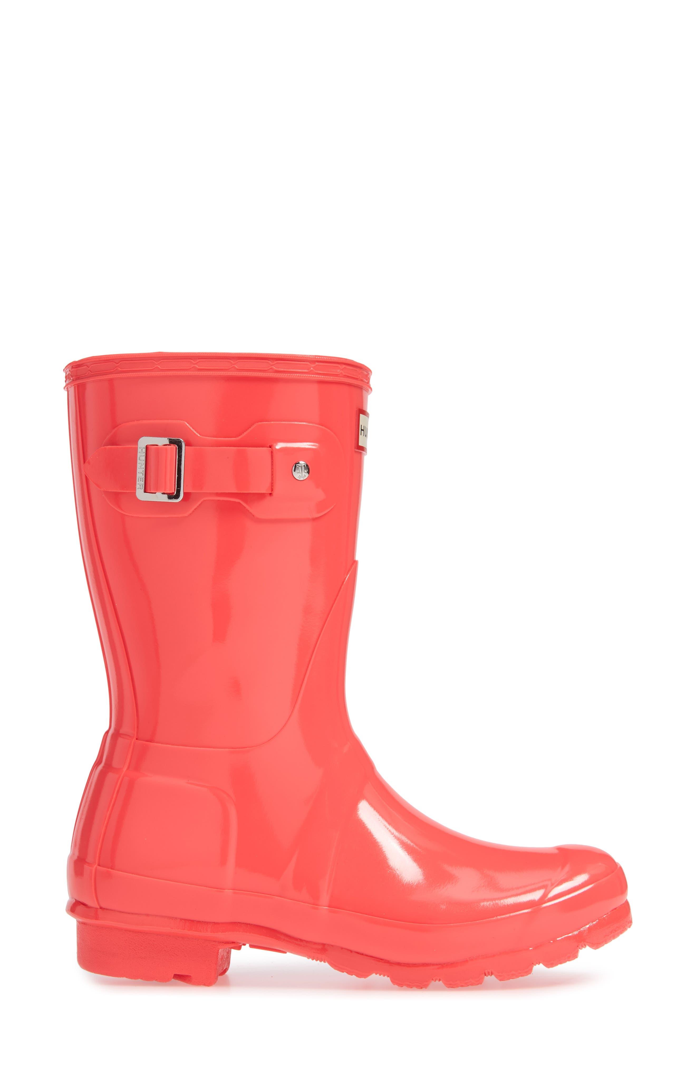 Original Short Gloss Rain Boot,                             Alternate thumbnail 4, color,                             HYPER PINK