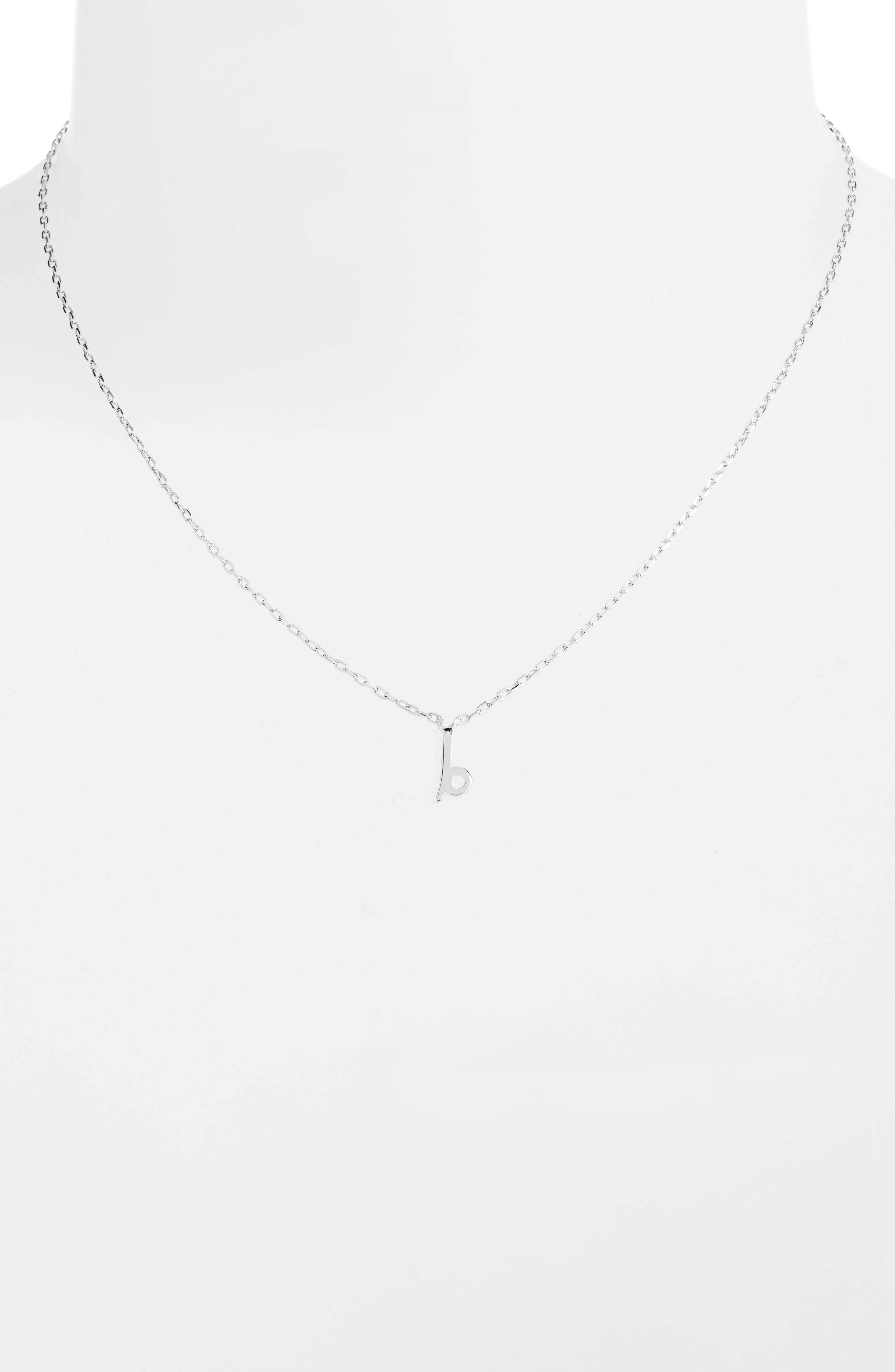 kate spade one in a million initial pendant necklace,                             Alternate thumbnail 2, color,                             B-SILVER