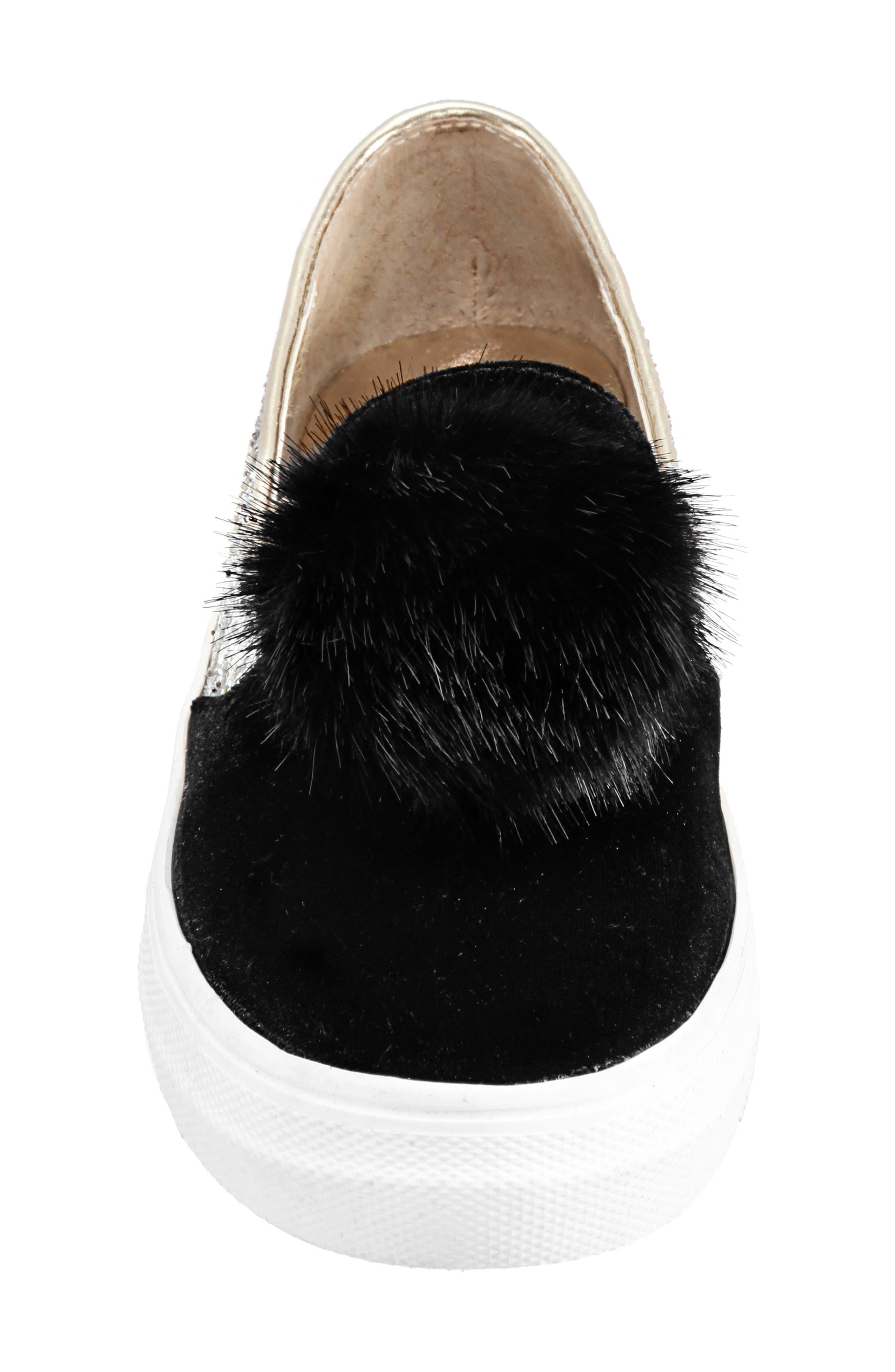 Hannie Glitter Pom Slip-On Sneaker,                             Alternate thumbnail 4, color,                             BLACK CHUNKY GLITTER/ VELVET