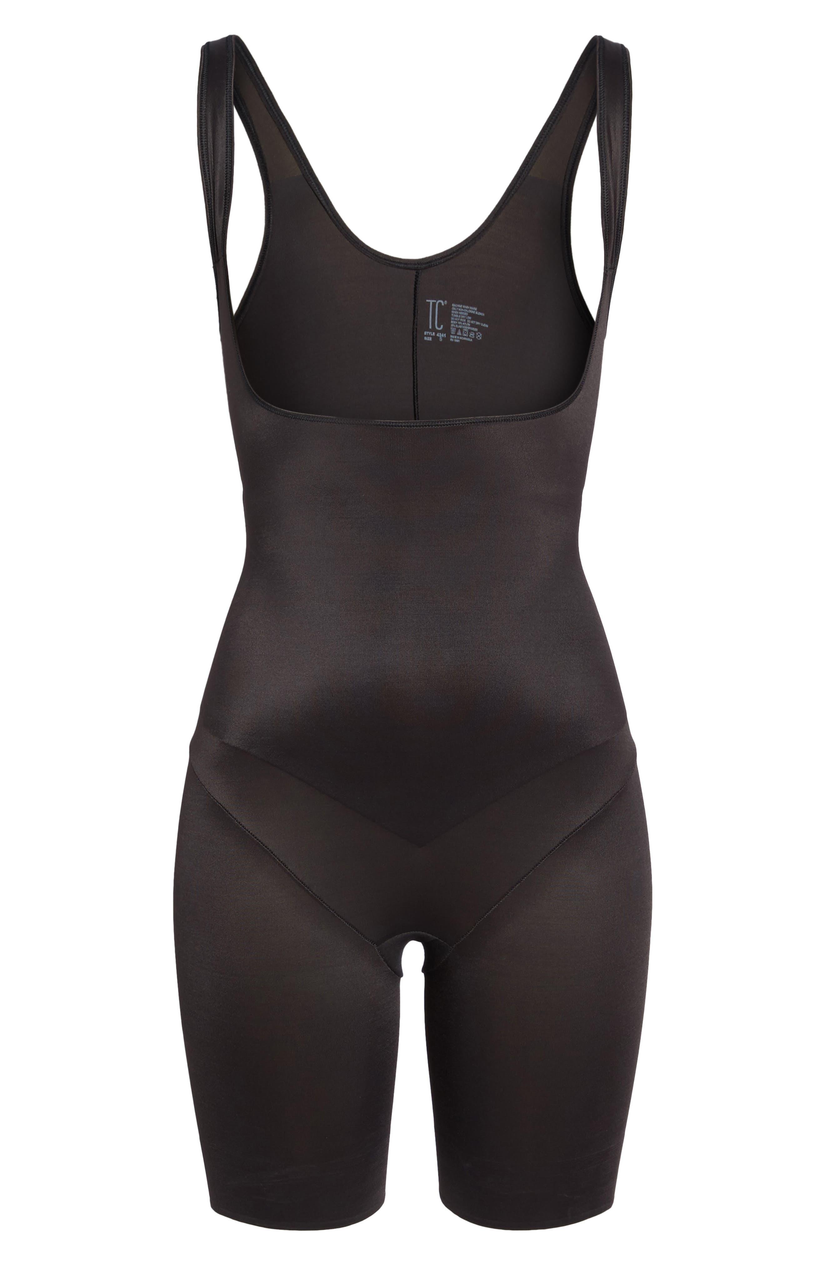 Torsette Underbust Mid Thigh Bodysuit Shaper,                             Alternate thumbnail 7, color,                             BLACK