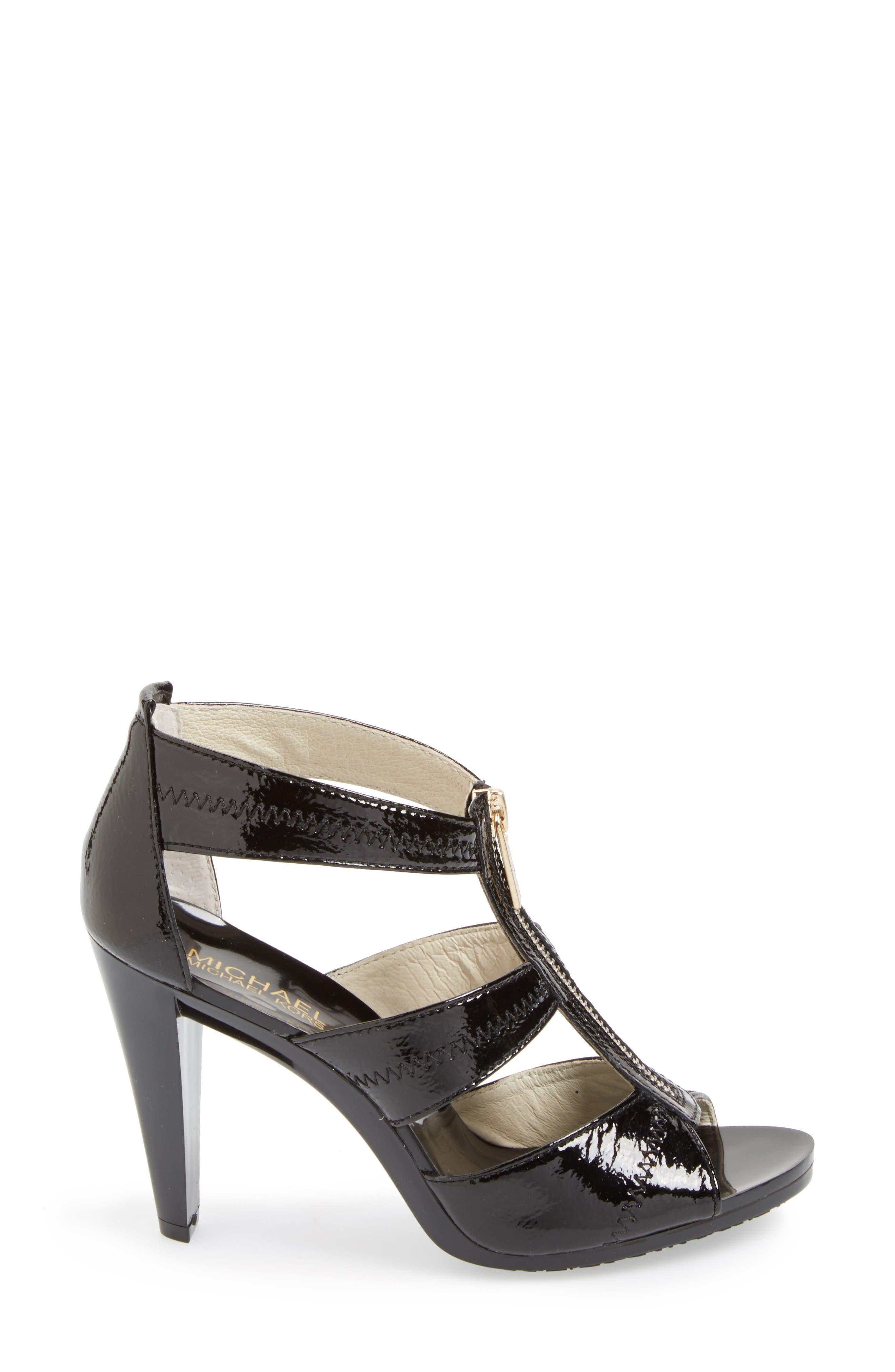 'Berkley' T-Strap Sandal,                             Alternate thumbnail 2, color,                             BLACK CRINKLED PATENT