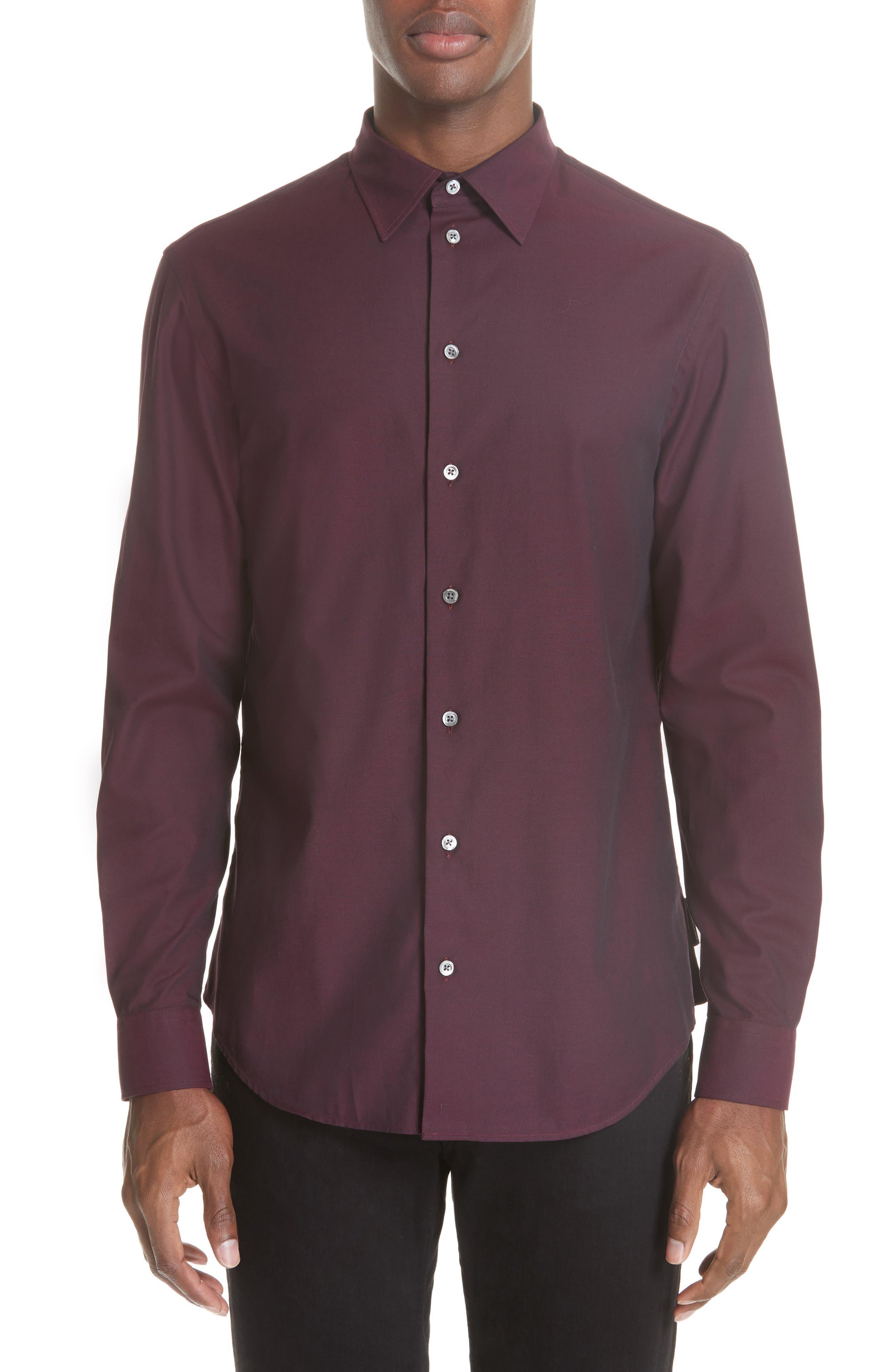 Solid Sport Shirt,                         Main,                         color, BORDEAUX