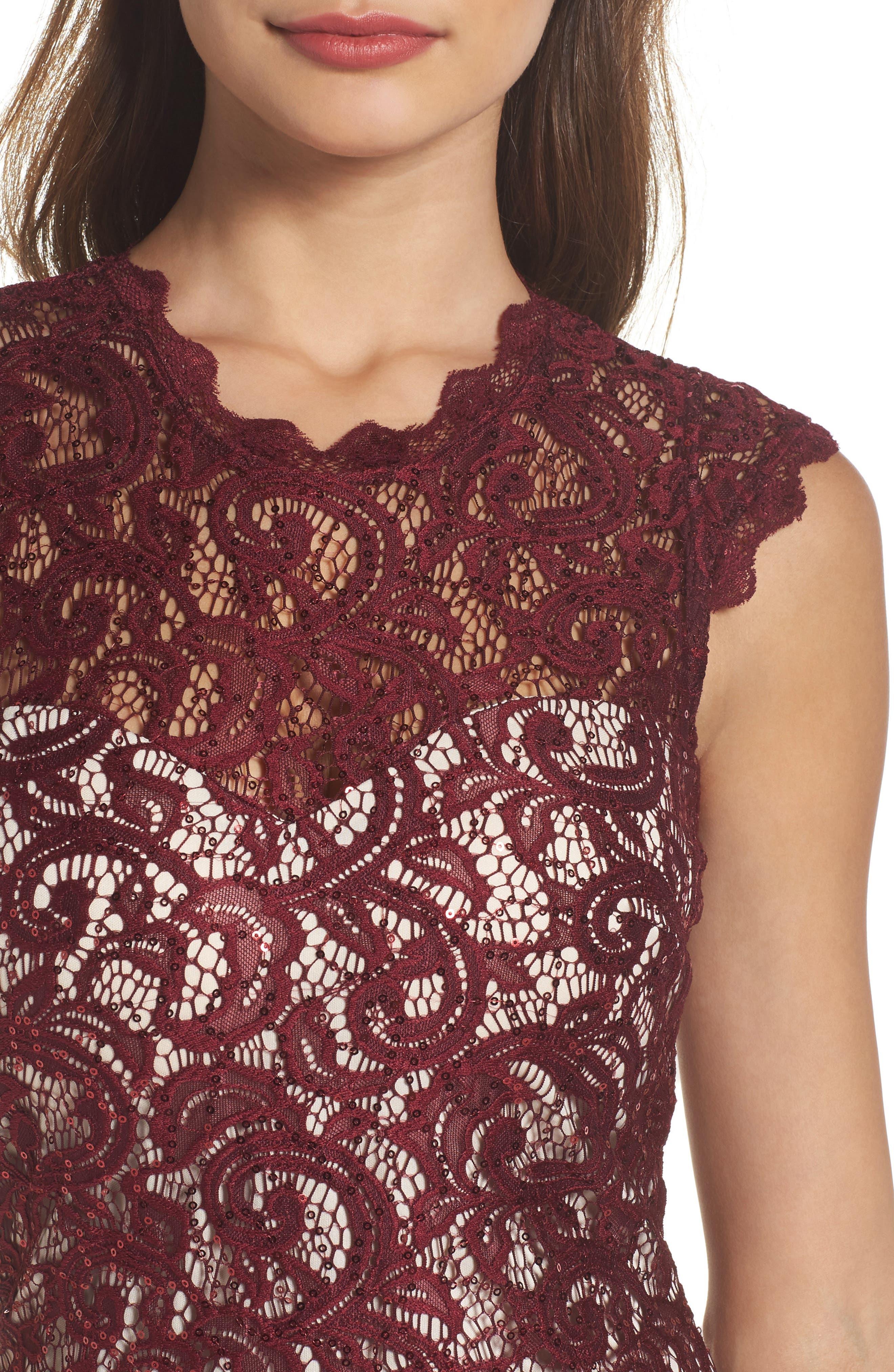 Sequin Lace Body-Con Dress,                             Alternate thumbnail 4, color,                             502