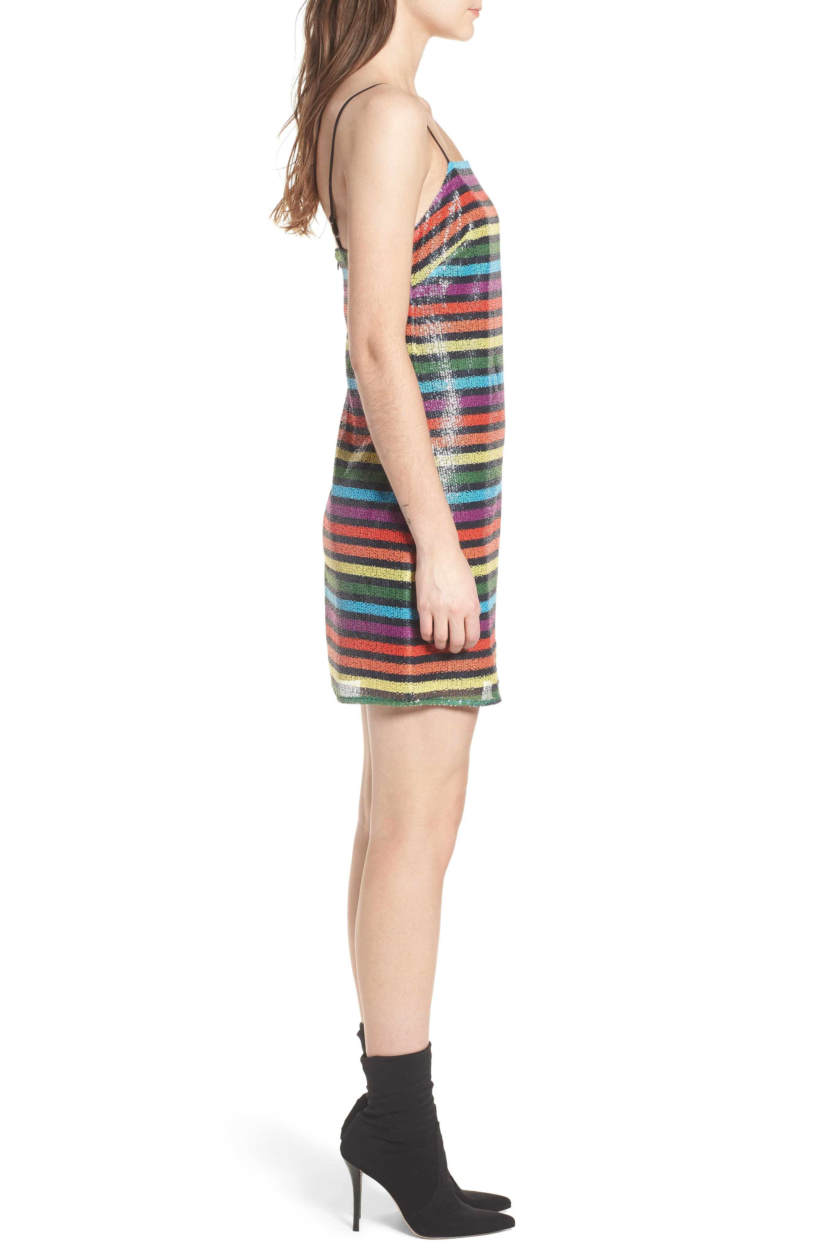 Lille Rainbow Stripe Sequin Minidress,                             Alternate thumbnail 3, color,                             600