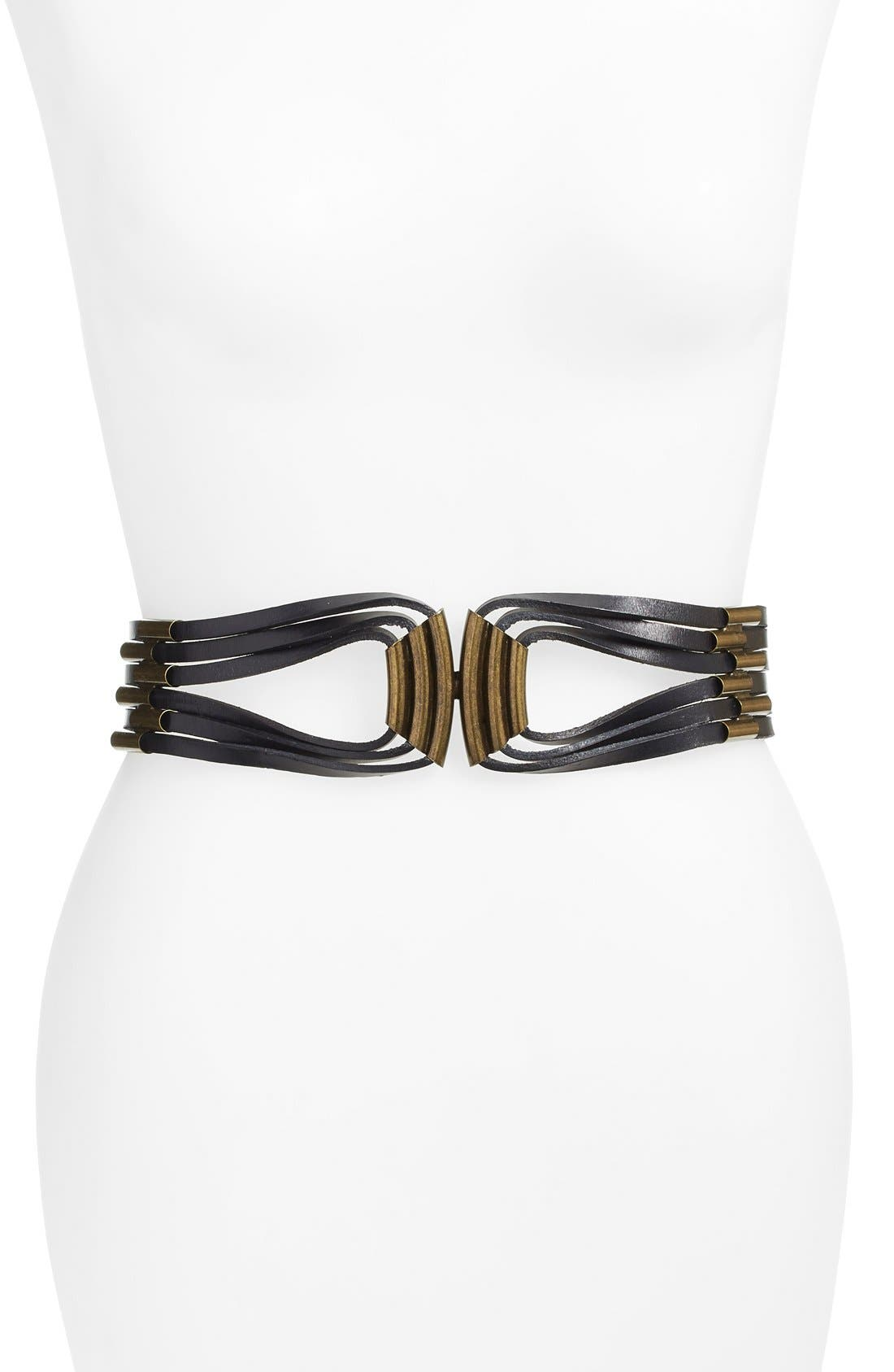 'Indigo' Leather Belt,                         Main,                         color, 001