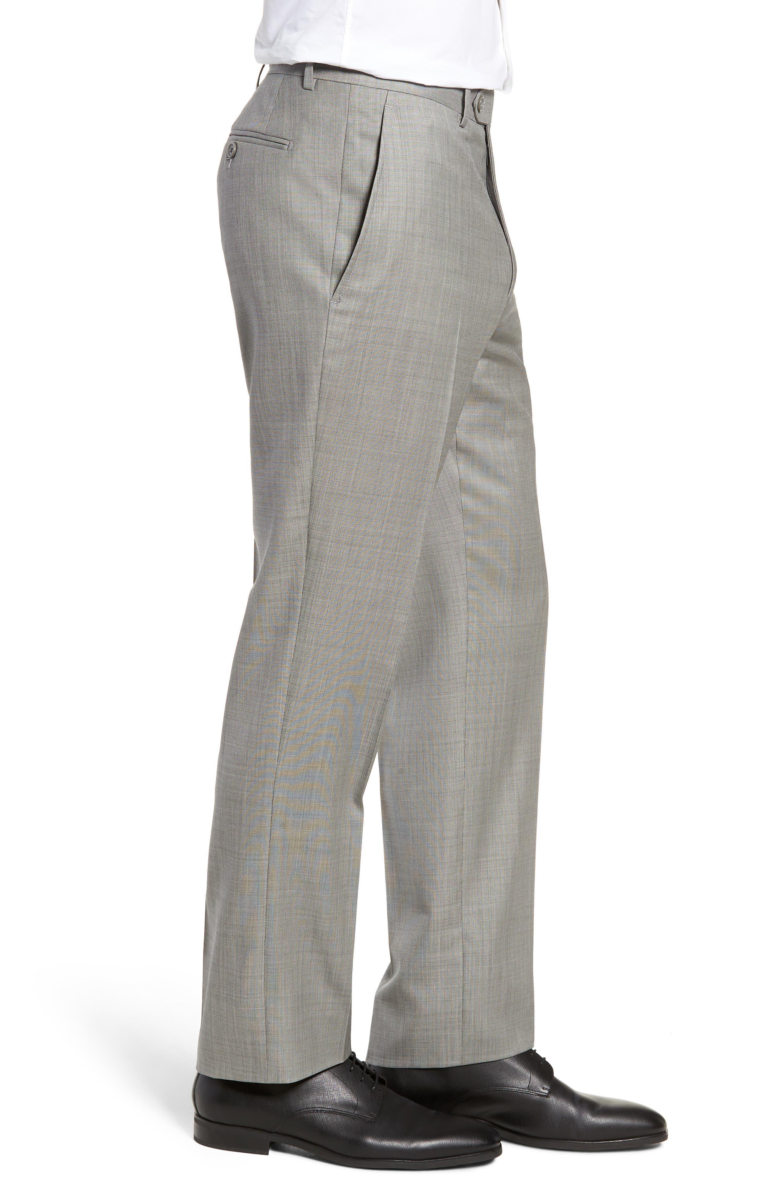 Flat Front Sharkskin Wool Trousers,                             Alternate thumbnail 3, color,                             LIGHT GREY