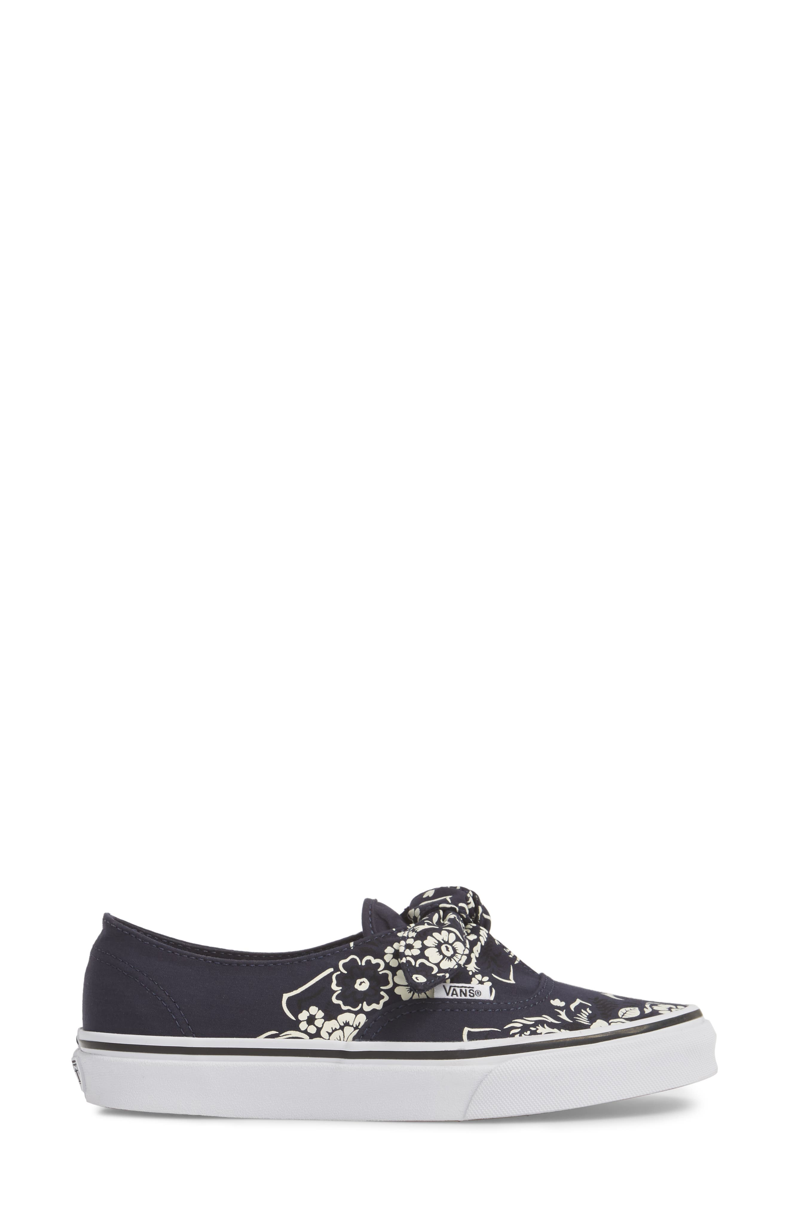 UA Authentic Knotted Floral Bandana Slip-On Sneaker,                             Alternate thumbnail 3, color,                             PARISIAN NIGHT/ TRUE WHITE