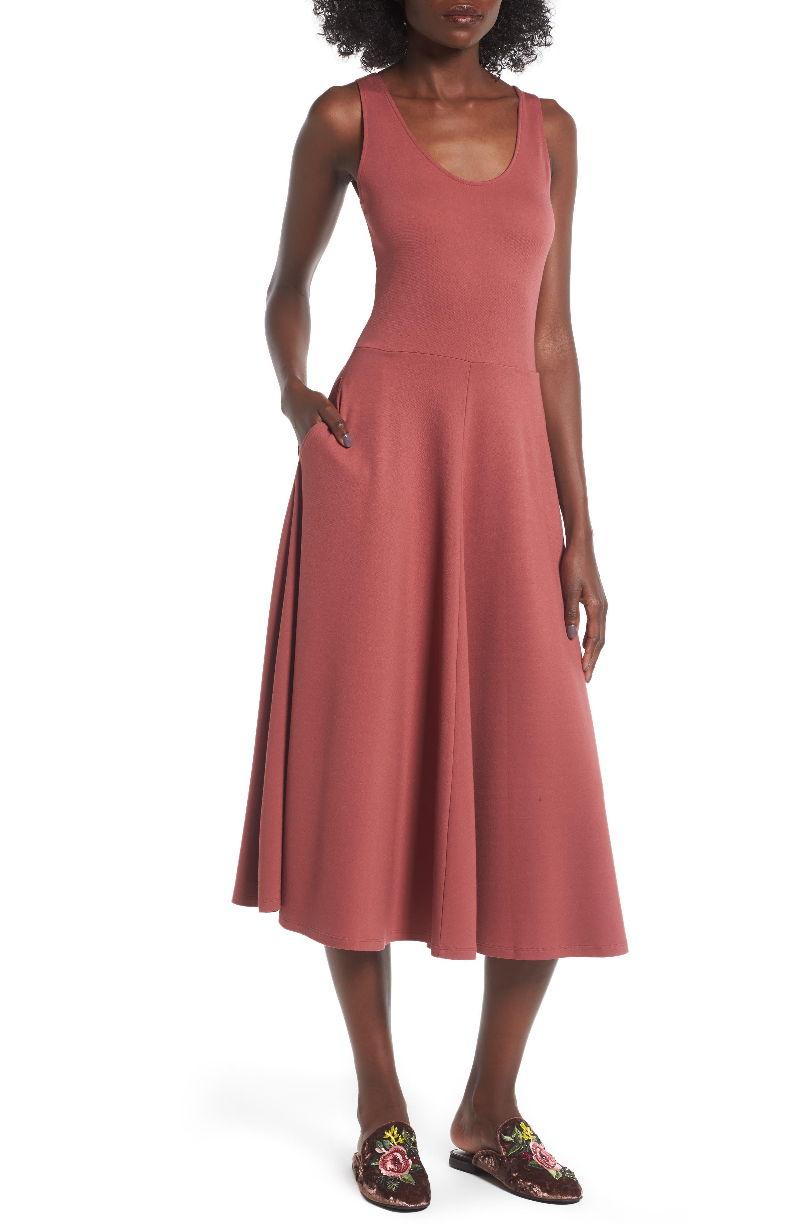 Stretch Knit Midi Dress,                             Main thumbnail 8, color,