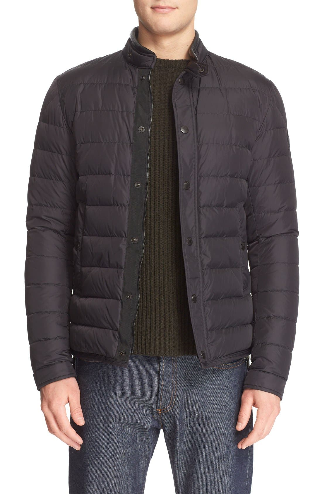 'Hanriot' Leather Trim Quilted Down Moto Jacket,                             Alternate thumbnail 4, color,                             001