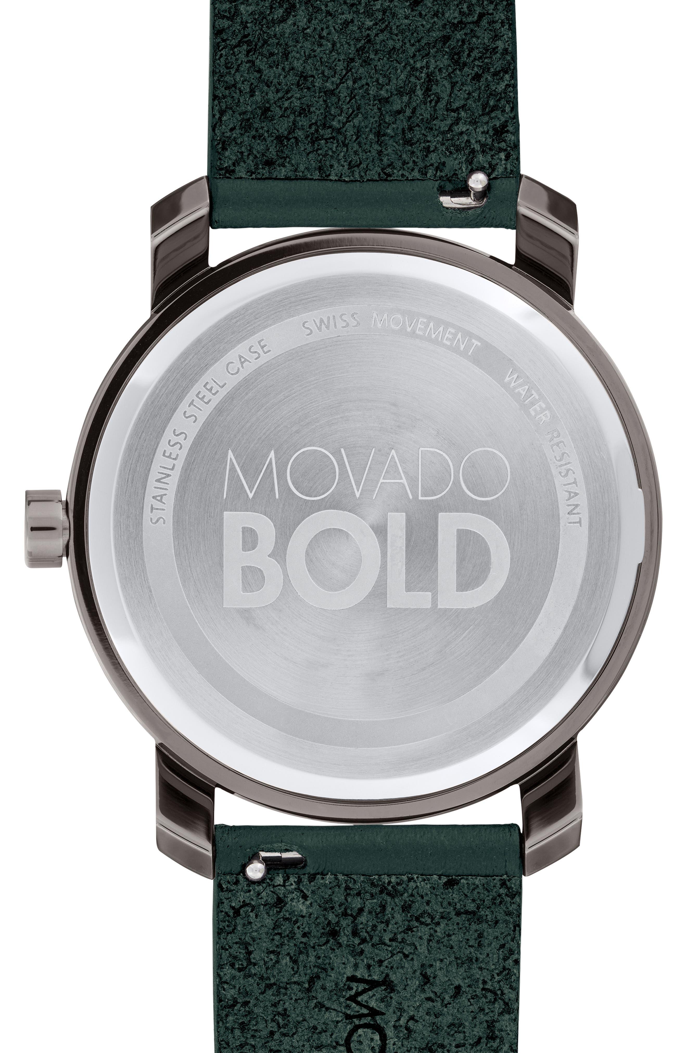 MOVADO,                             Bold Leather Strap Watch, 41mm,                             Alternate thumbnail 2, color,                             GREEN/ GUNMETAL