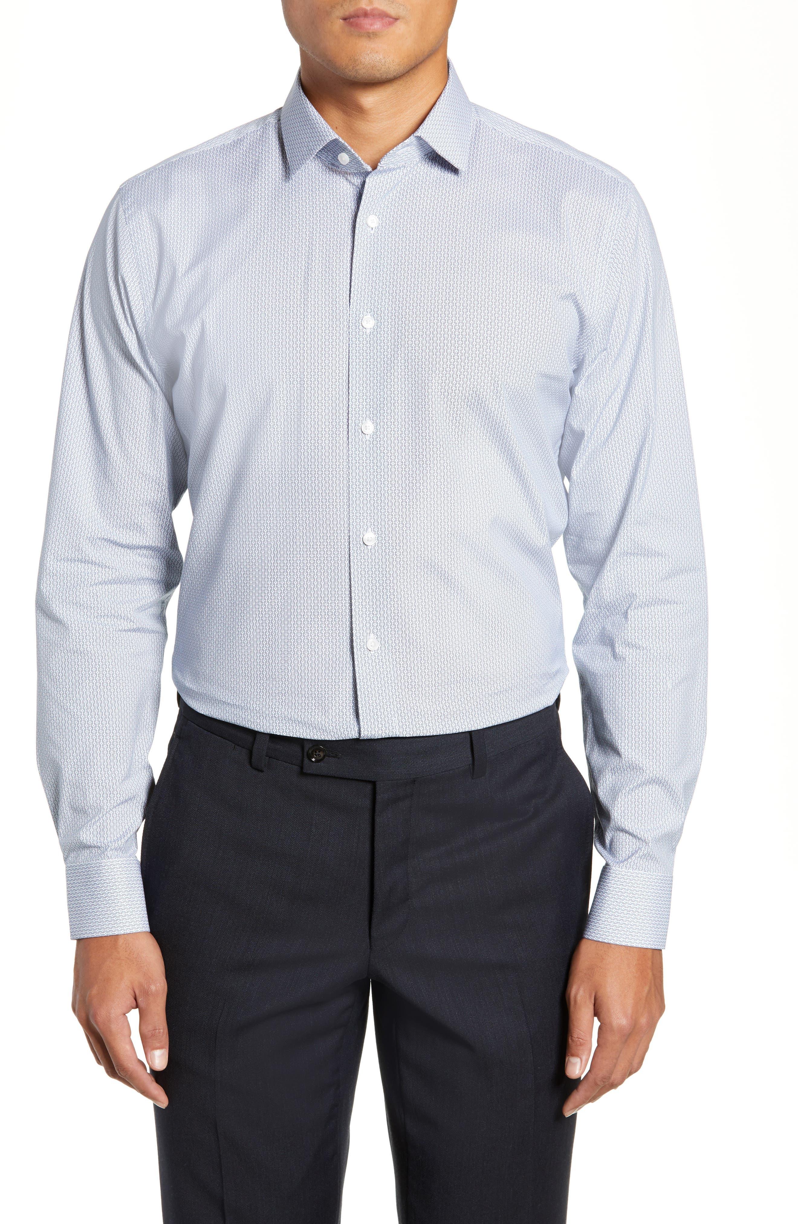 Trim Fit Geometric Print Dress Shirt,                             Main thumbnail 1, color,                             BLUE CHAMBRAY