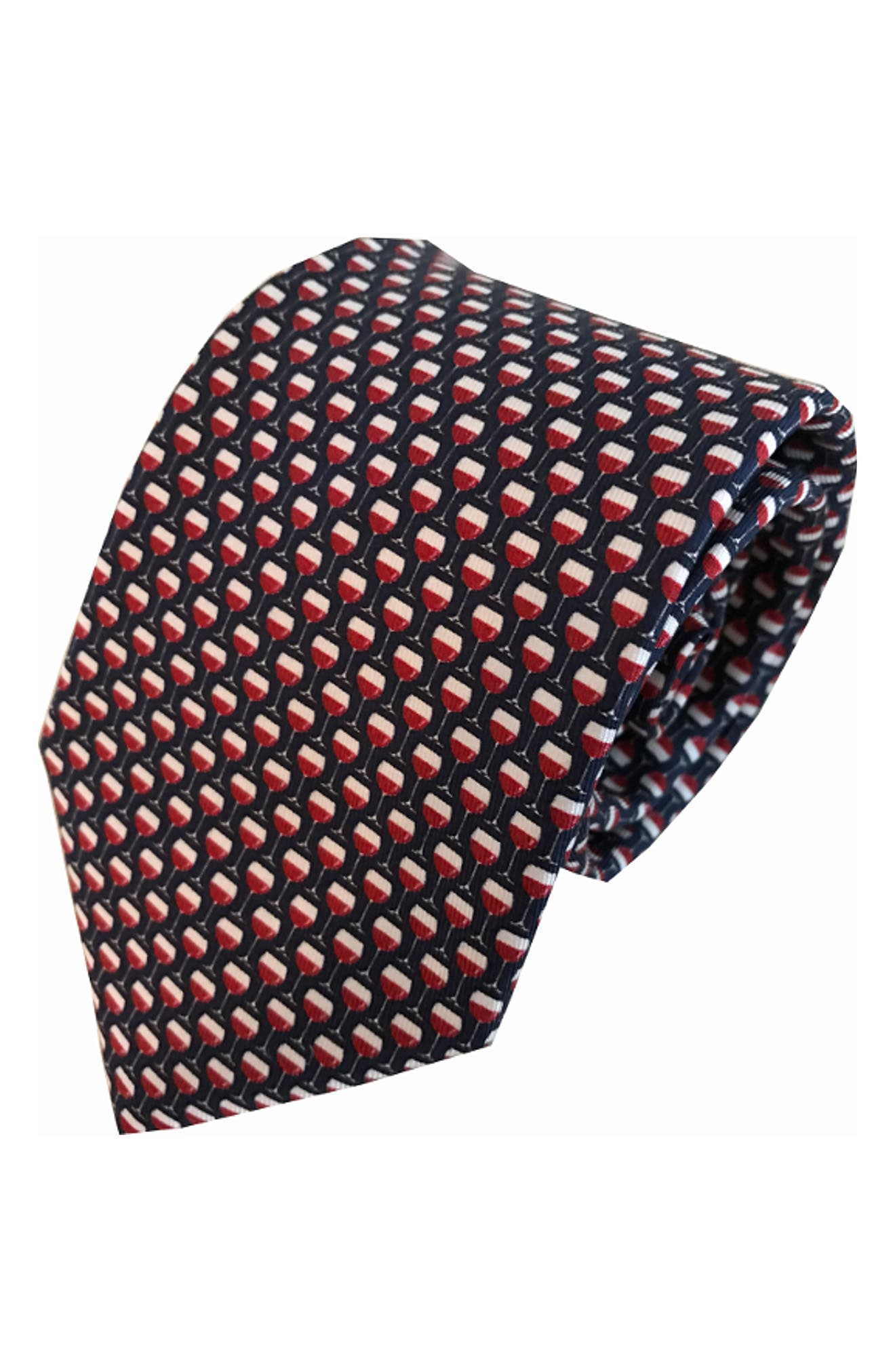 On Cloud Wine Silk Tie,                             Main thumbnail 1, color,                             NAVY/ RED