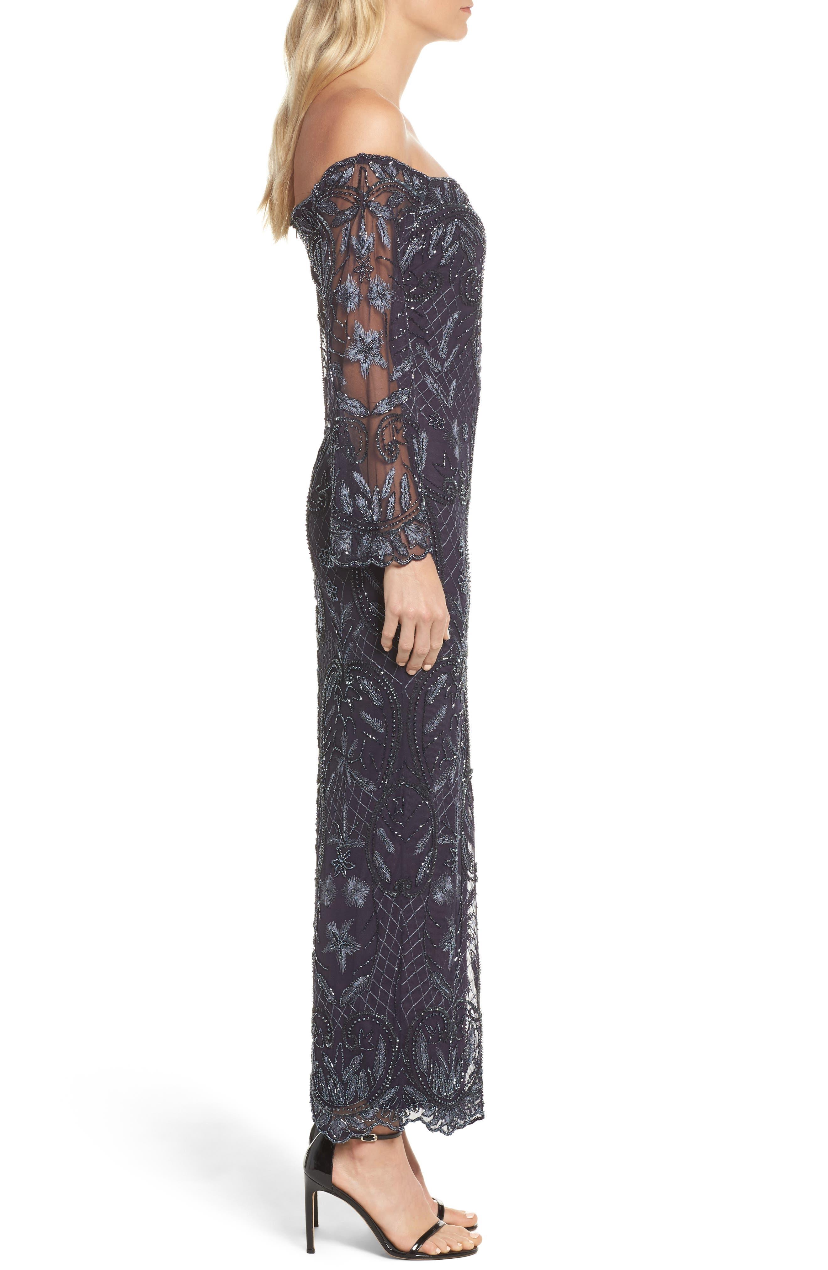 Embellished Off the Shoulder Column Gown,                             Alternate thumbnail 3, color,                             020