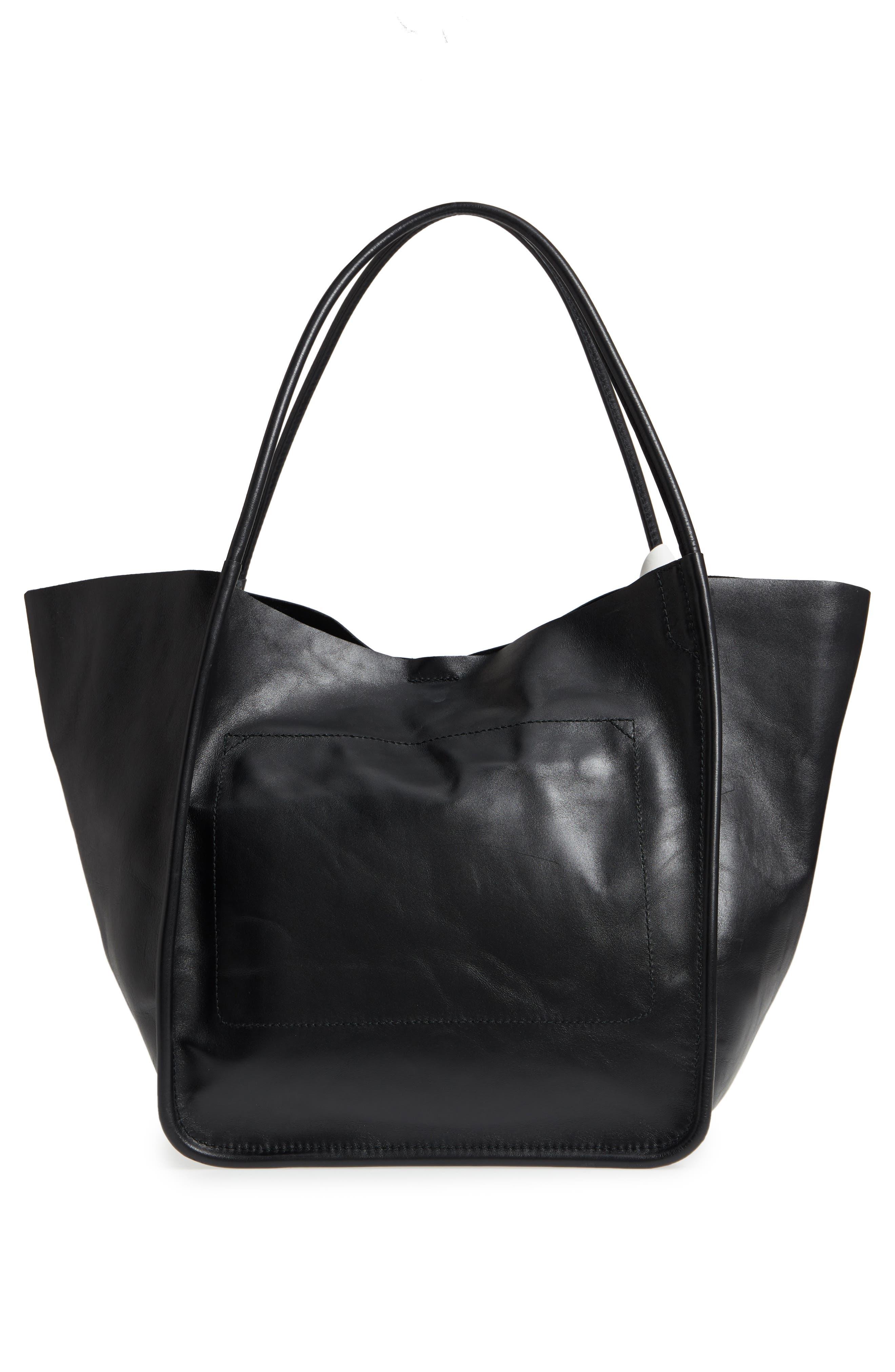 Large Calfskin Leather Tote,                             Alternate thumbnail 3, color,                             BLACK
