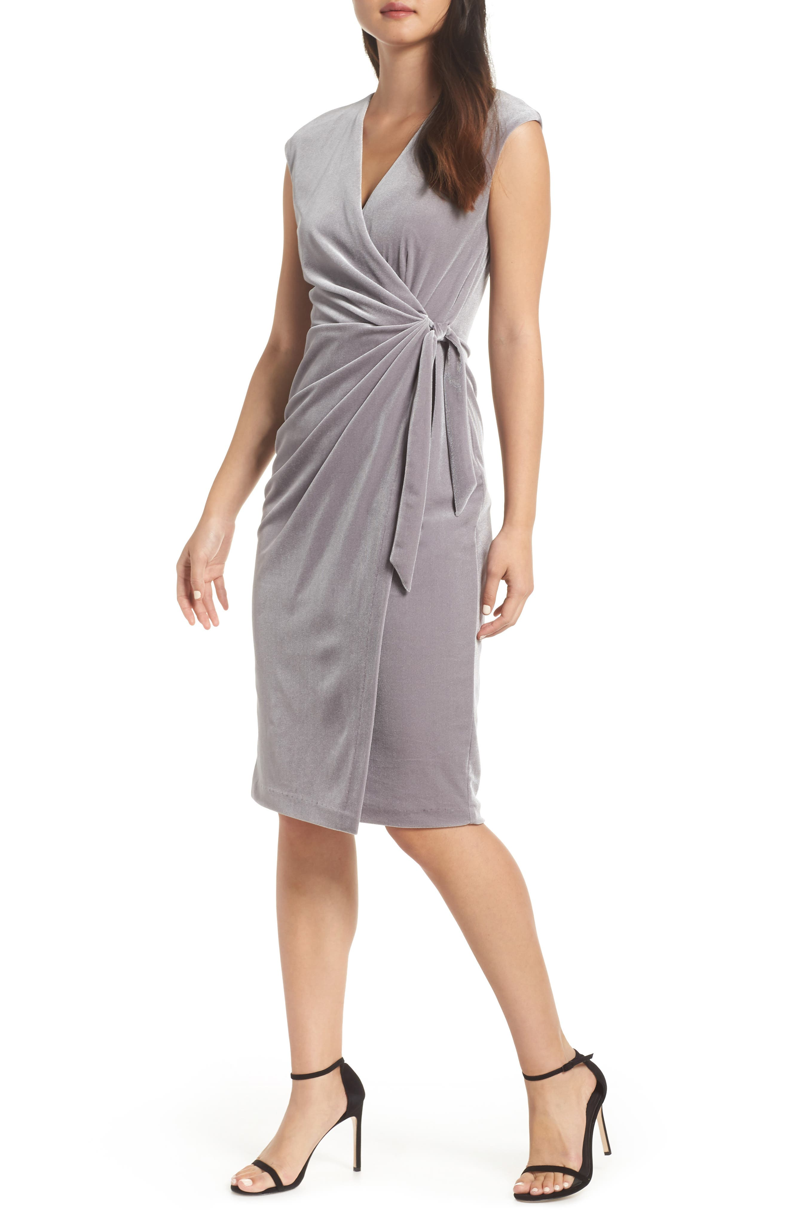 Vintage Cocktail Dresses, Party Dresses, Prom Dresses Womens Maggy London Velvet Faux Wrap Dress Size 18 similar to 16W - Metallic $138.00 AT vintagedancer.com