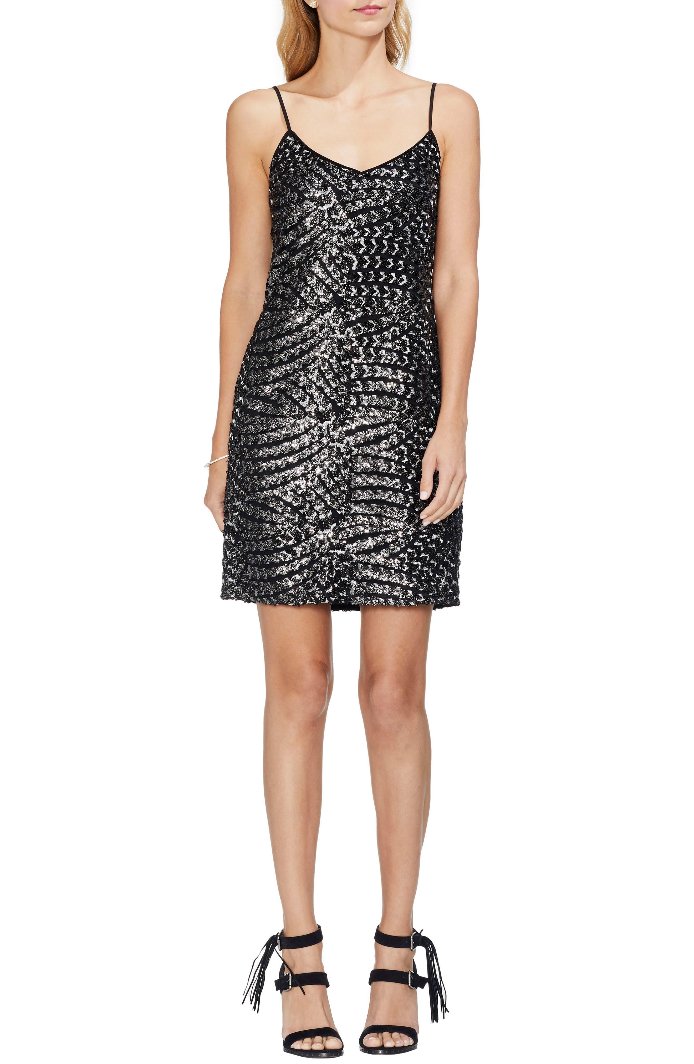 Silver Fan Sequin Camisole Dress,                             Main thumbnail 1, color,                             RICH BLACK