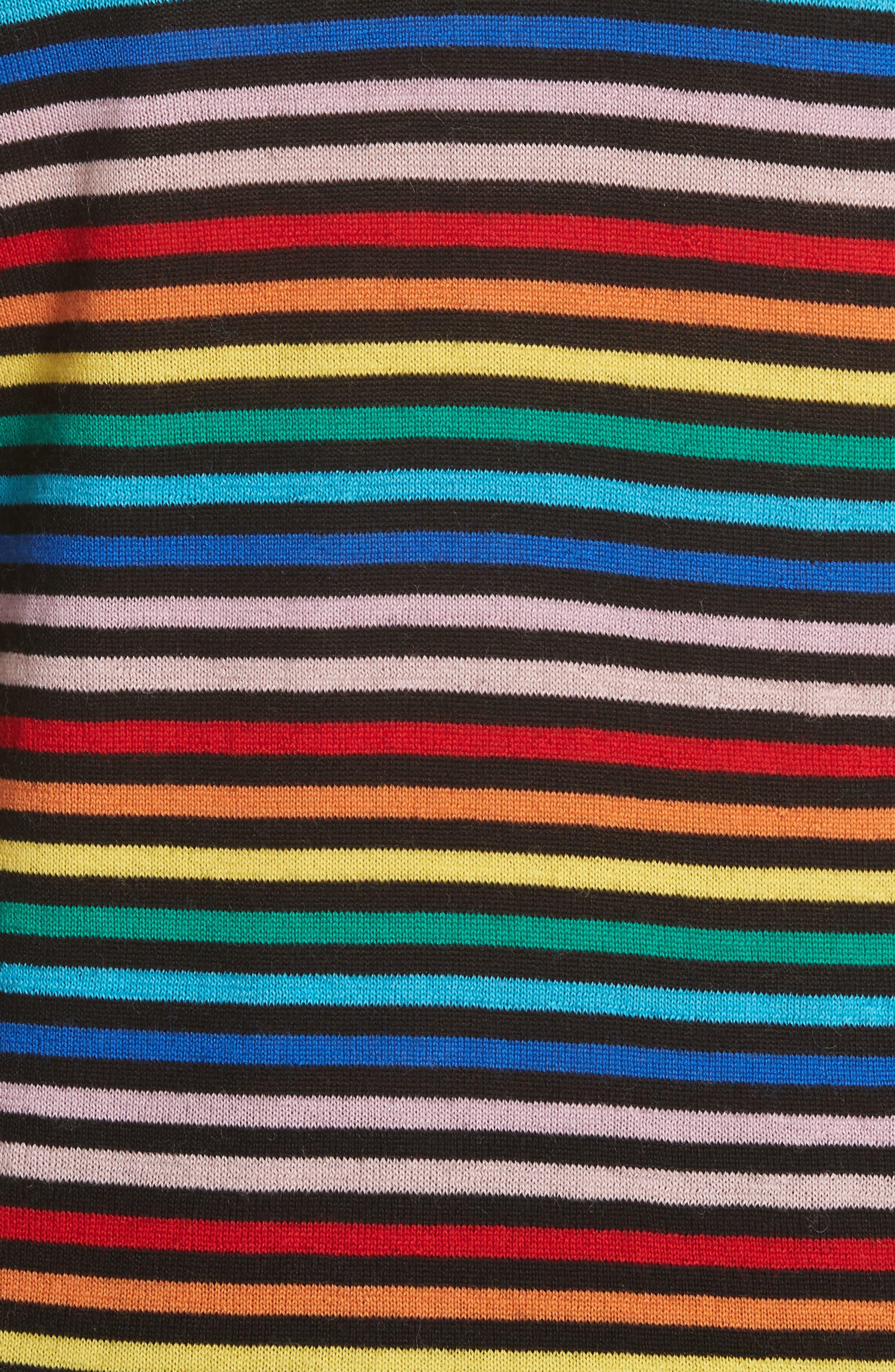 être cécile Stripe Knit Boyfriend Sweater,                             Alternate thumbnail 5, color,                             001