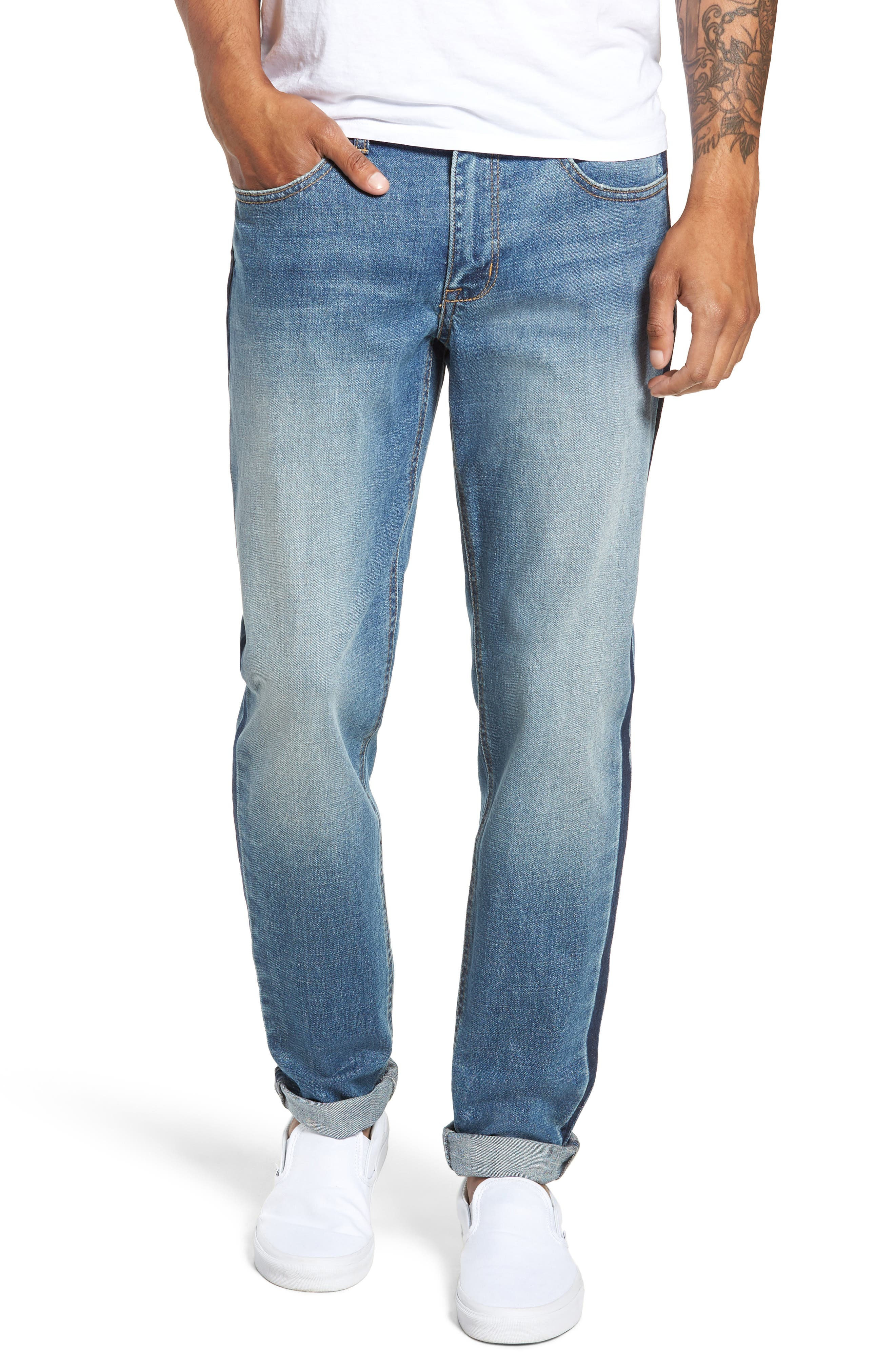 Slim Fit Side Stripe Jeans,                             Main thumbnail 1, color,                             BLUE STALEY WASH