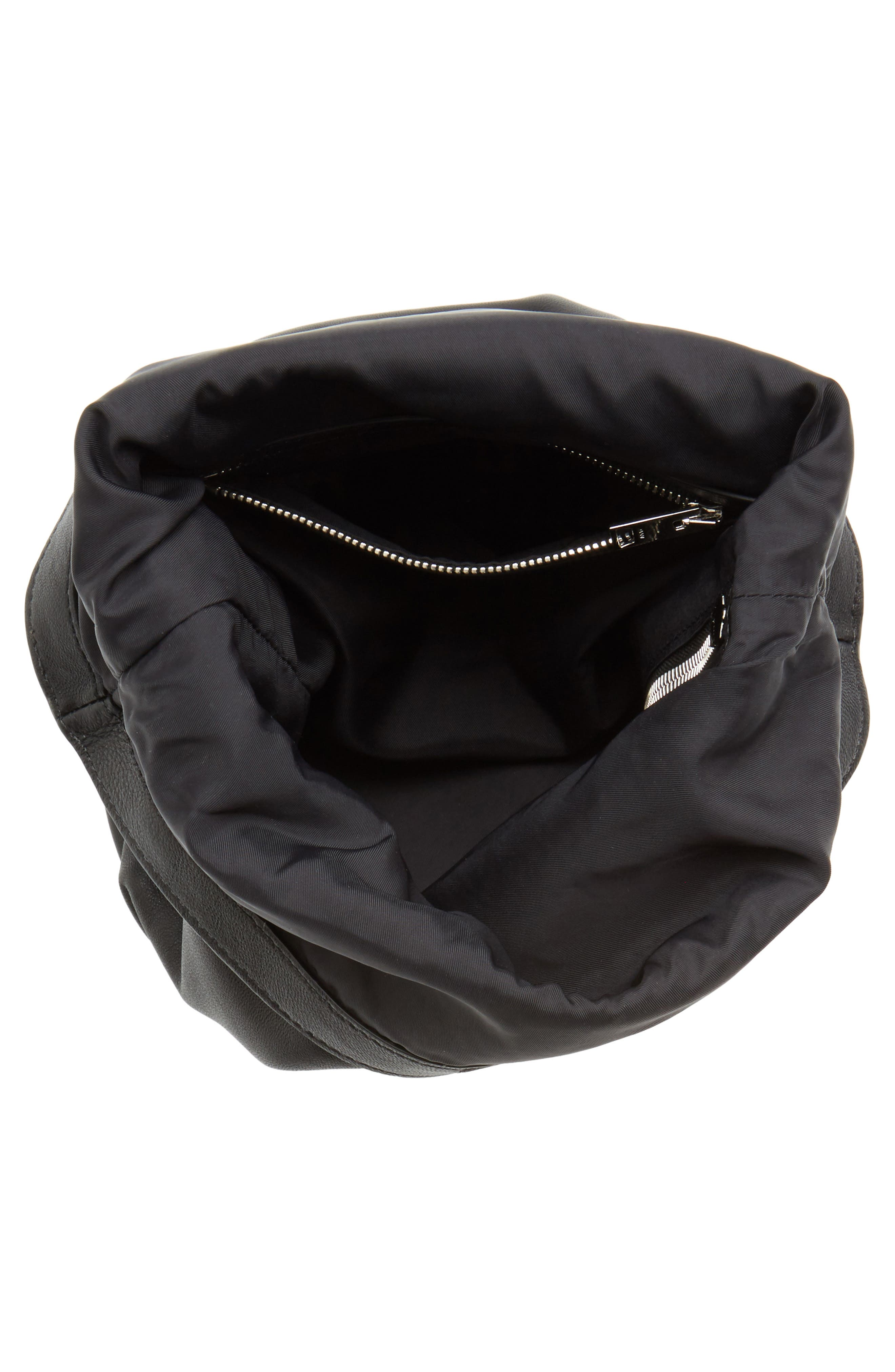 Attica Leather Bucket Bag,                             Alternate thumbnail 5, color,                             BLACK
