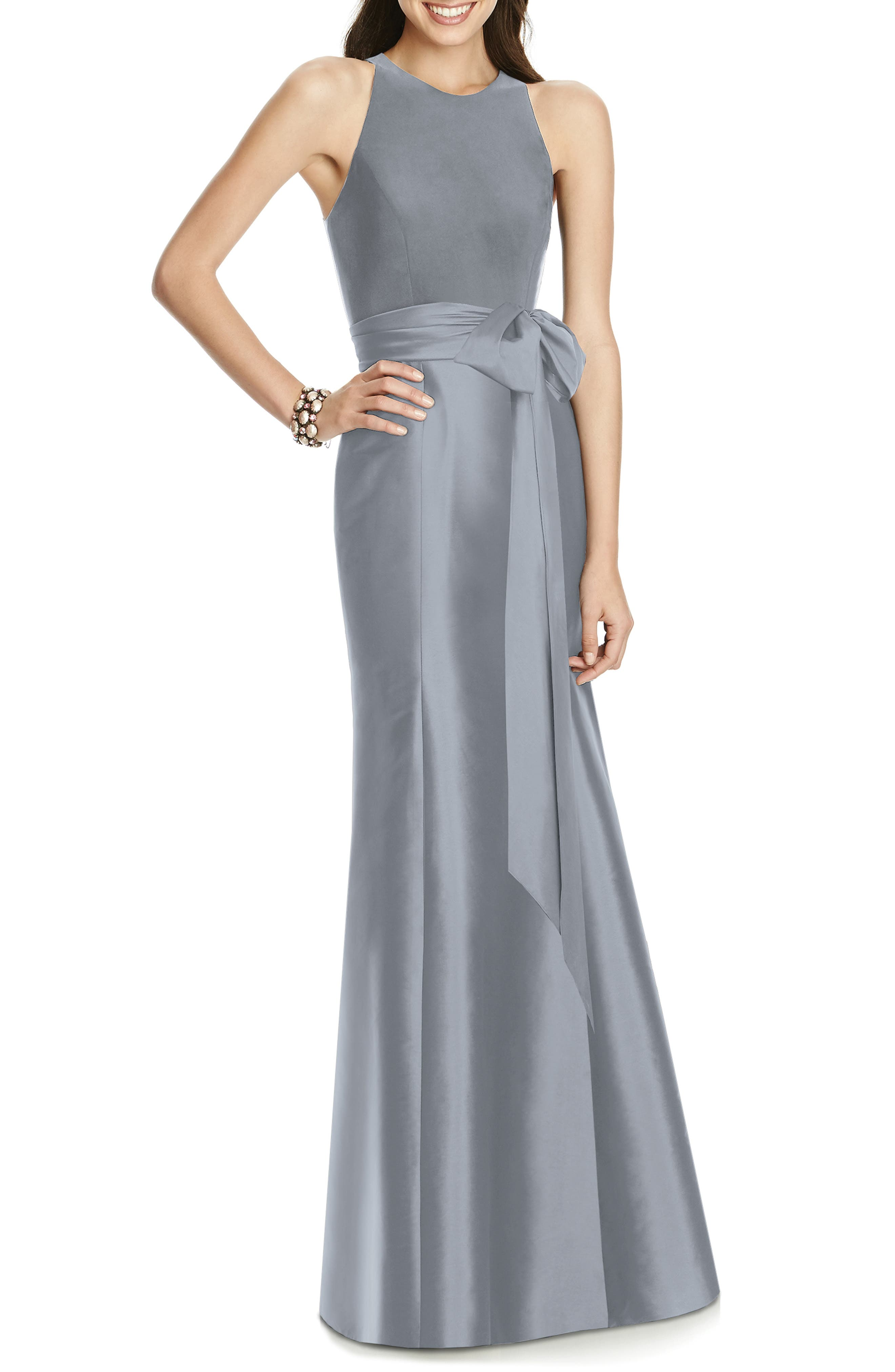 Alfred Sung Mikado Jersey Bodice Trumpet Gown, Grey