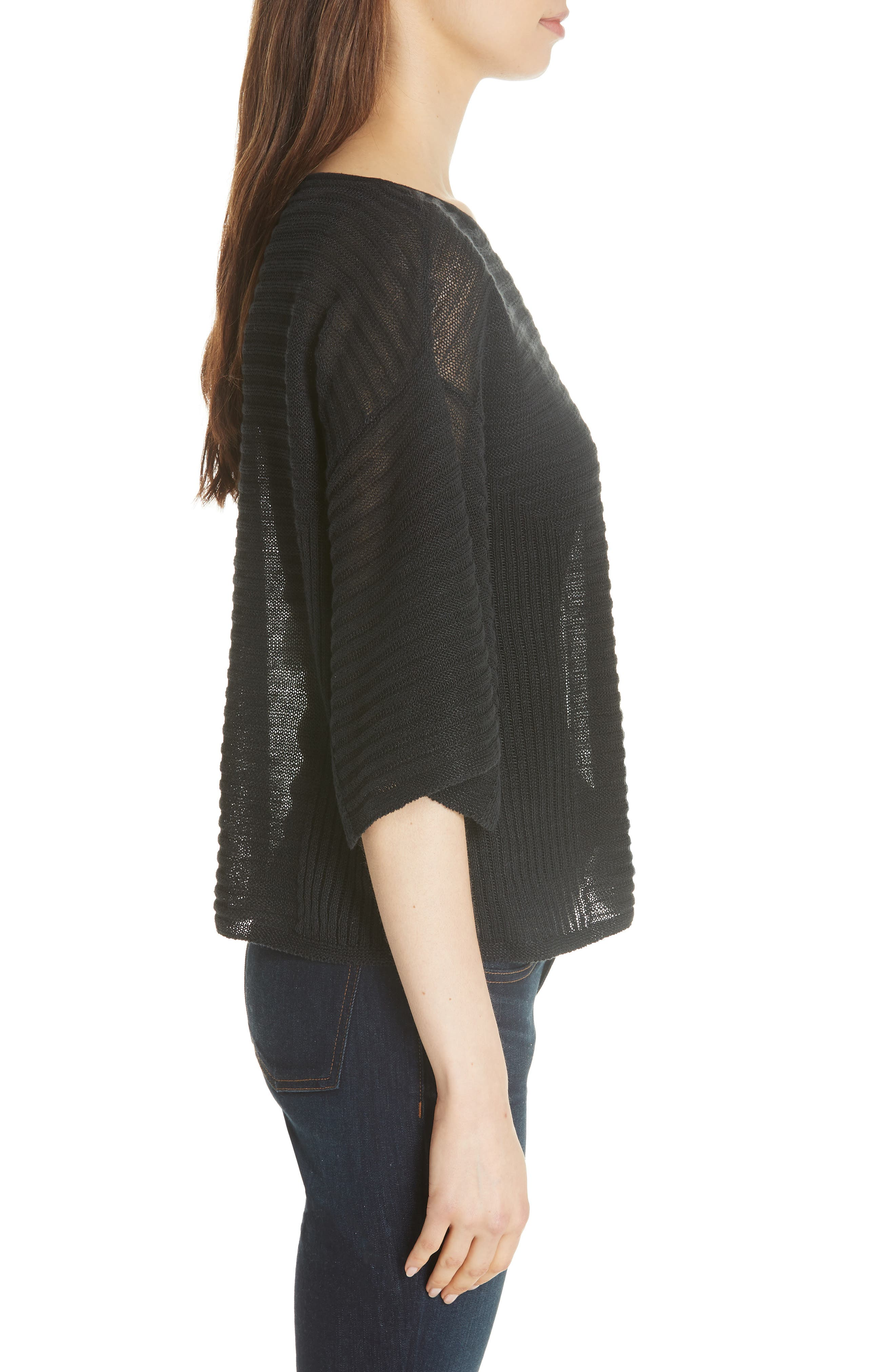 Slit Sleeve Organic Linen Sweater,                             Alternate thumbnail 3, color,                             001