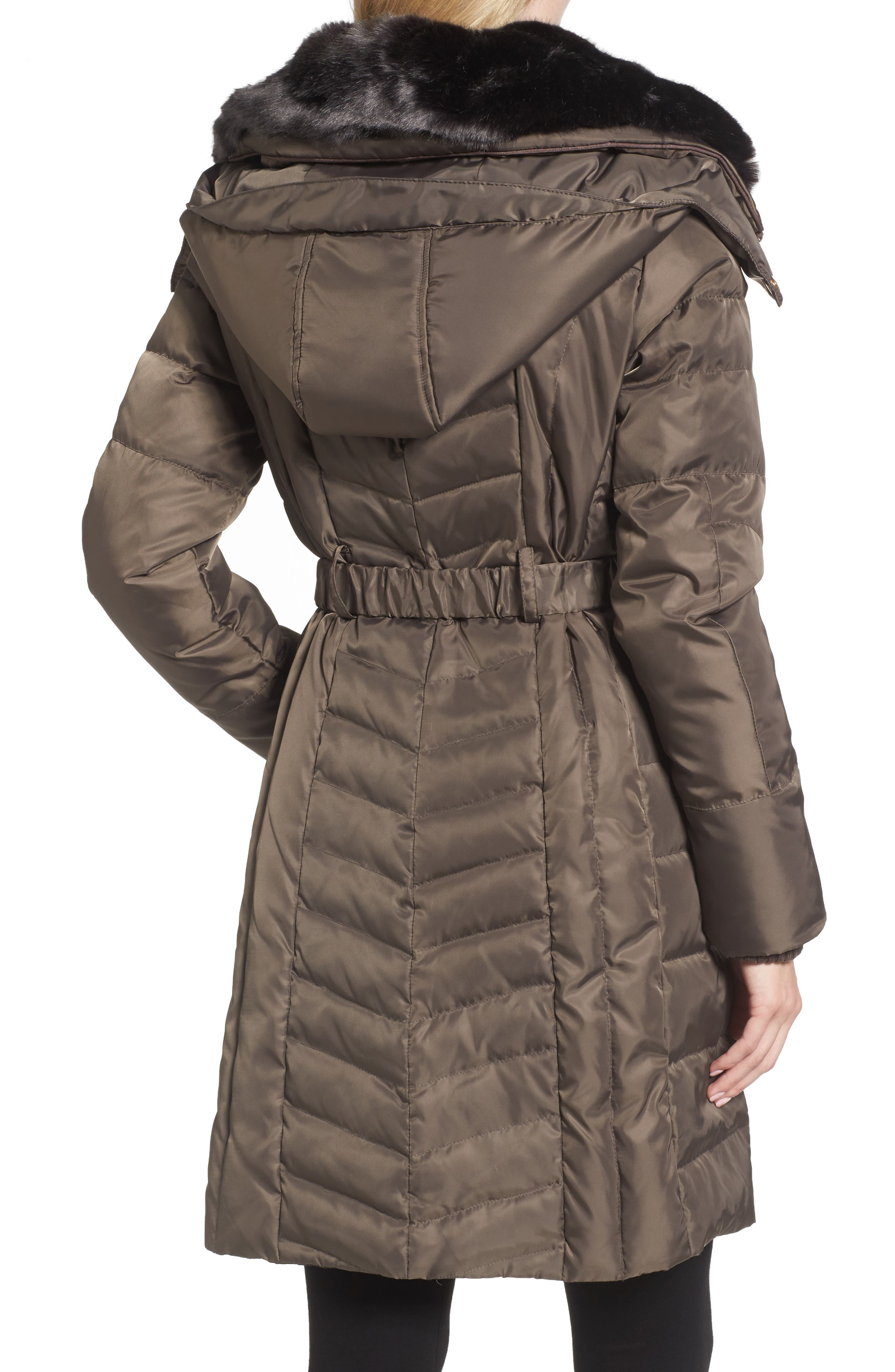 Belted Coat with Detachable Faux Fur,                             Alternate thumbnail 4, color,