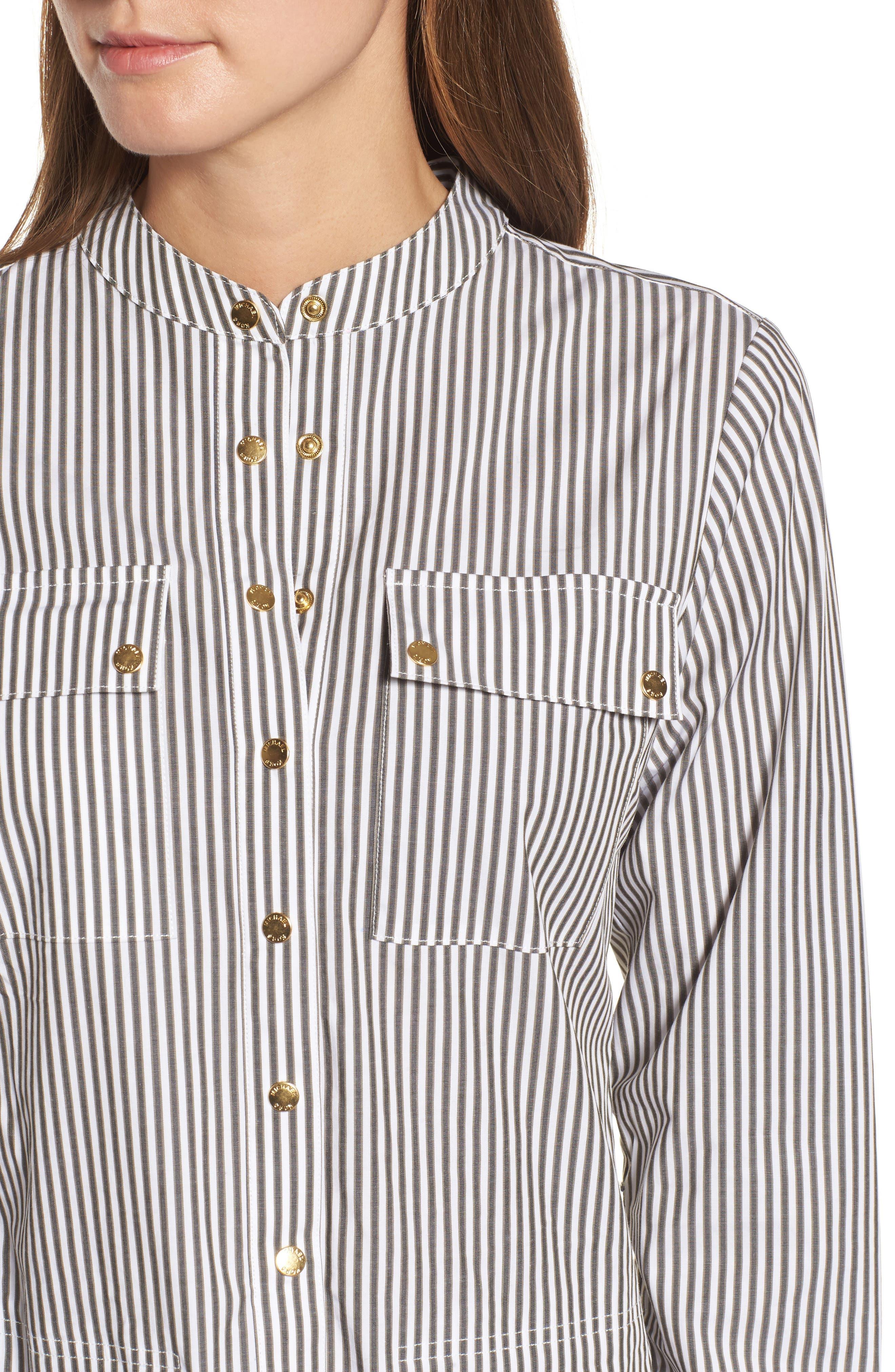 Stripe Button Down Shirtdress,                             Alternate thumbnail 4, color,                             345