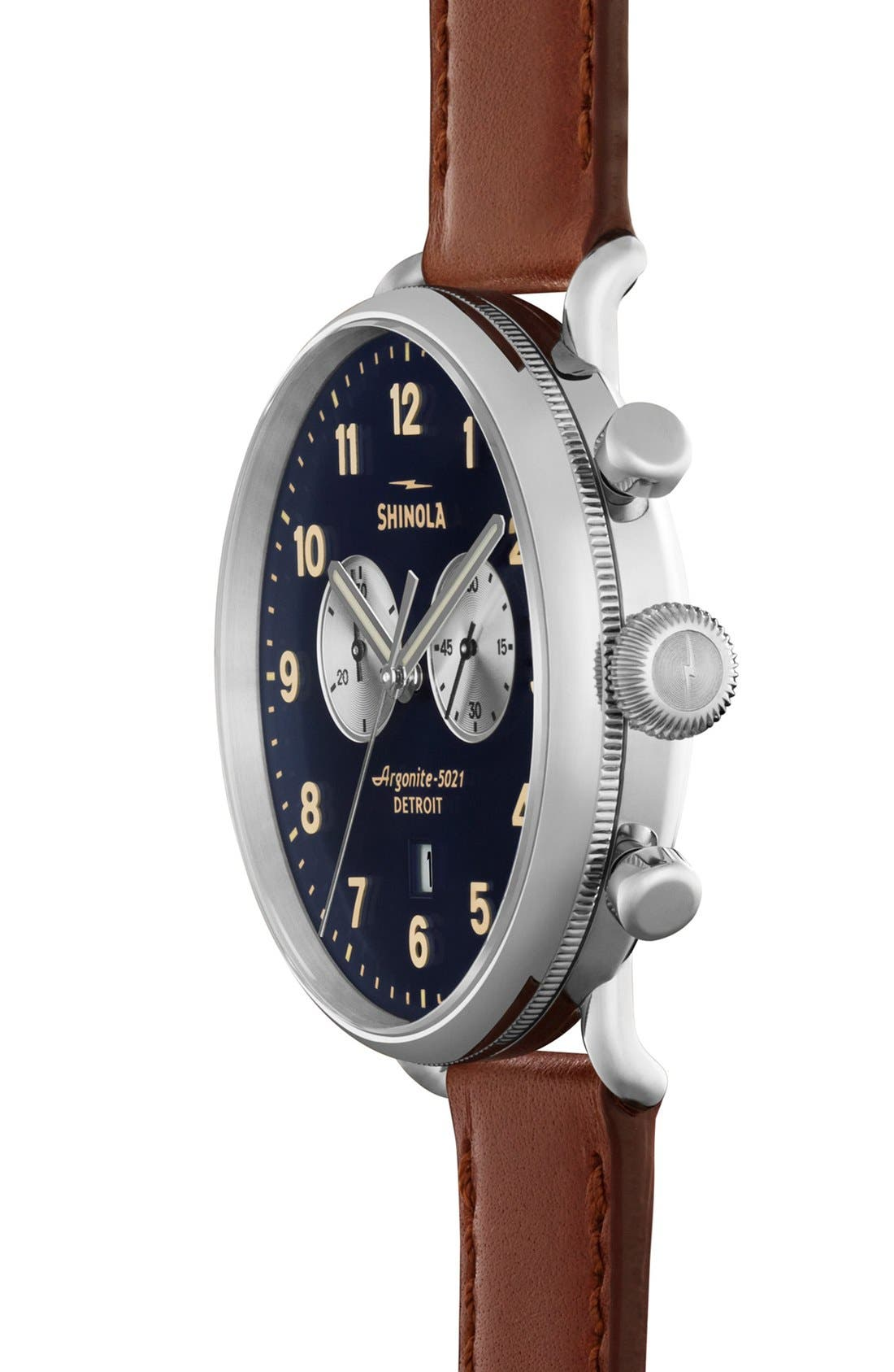 The Canfield Chrono Leather Strap Watch, 43mm,                             Alternate thumbnail 3, color,                             DARK COGNAC/ MIDNIGHT BLUE