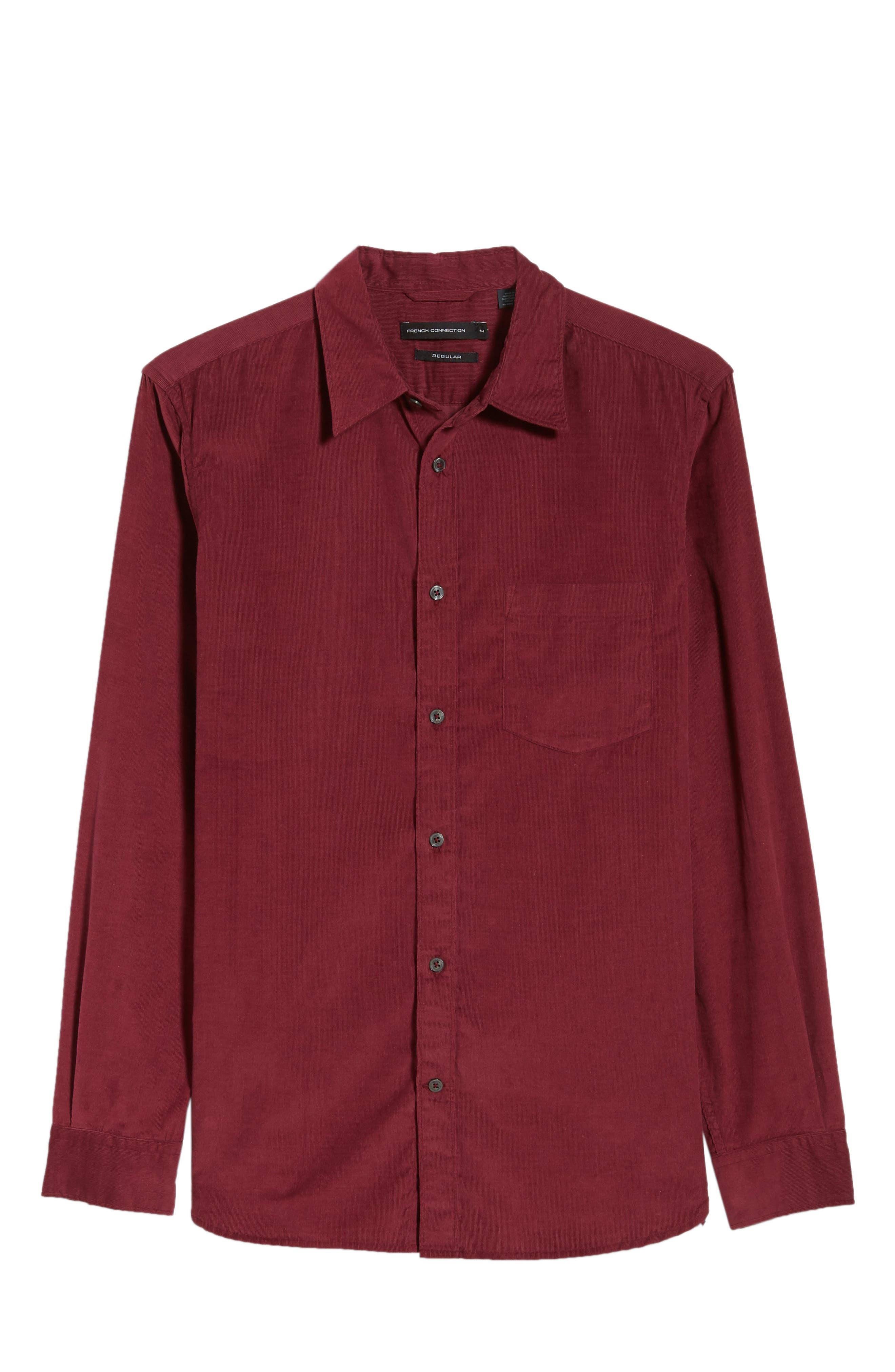 28 Wales Regular Fit Corduroy Shirt,                             Alternate thumbnail 5, color,                             RASPBERRY BERET