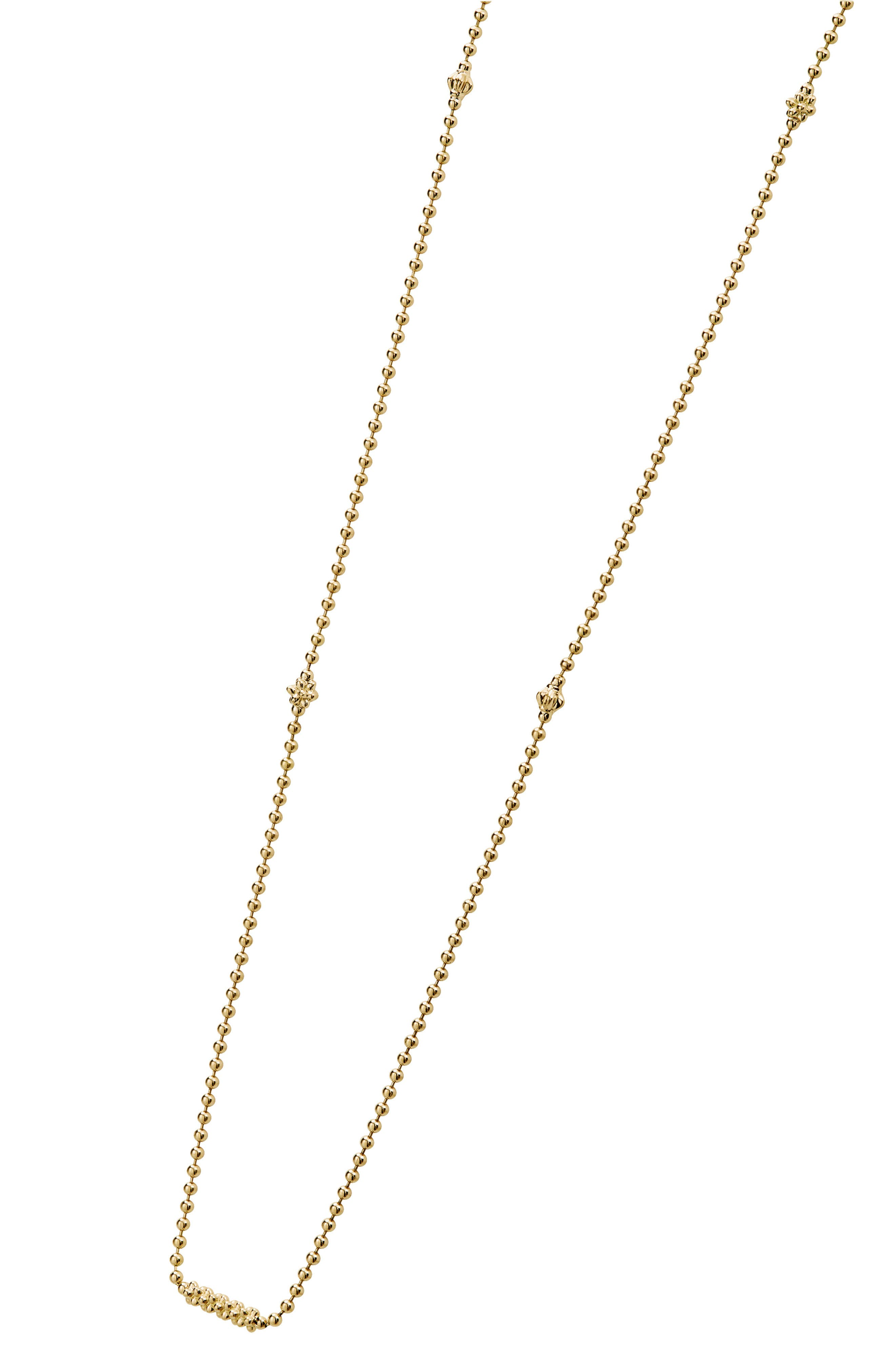 Caviar Bars & Cages Chain Necklace,                             Alternate thumbnail 3, color,                             GOLD
