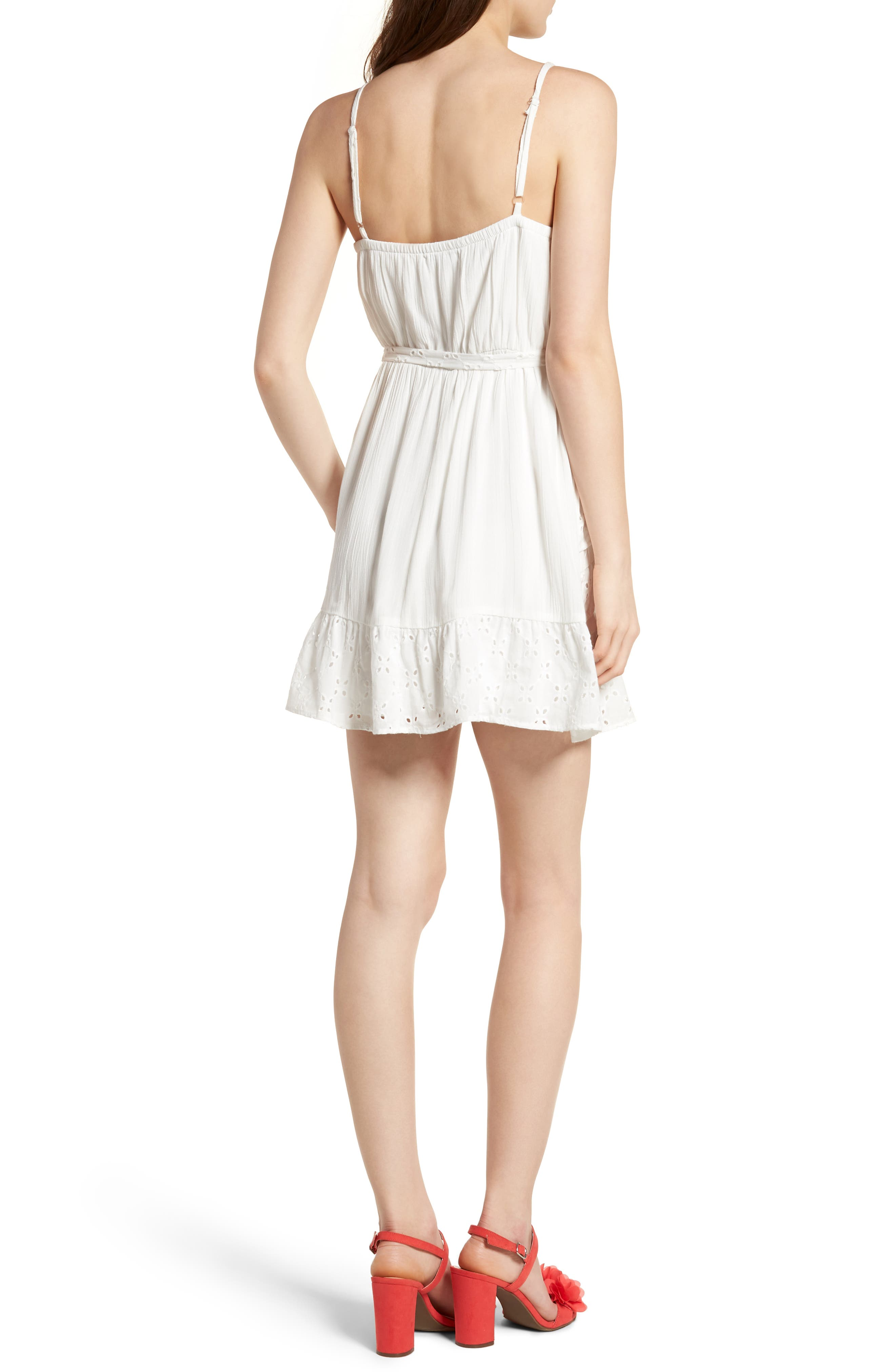 Ruffle Eyelet Minidress,                             Alternate thumbnail 2, color,                             100