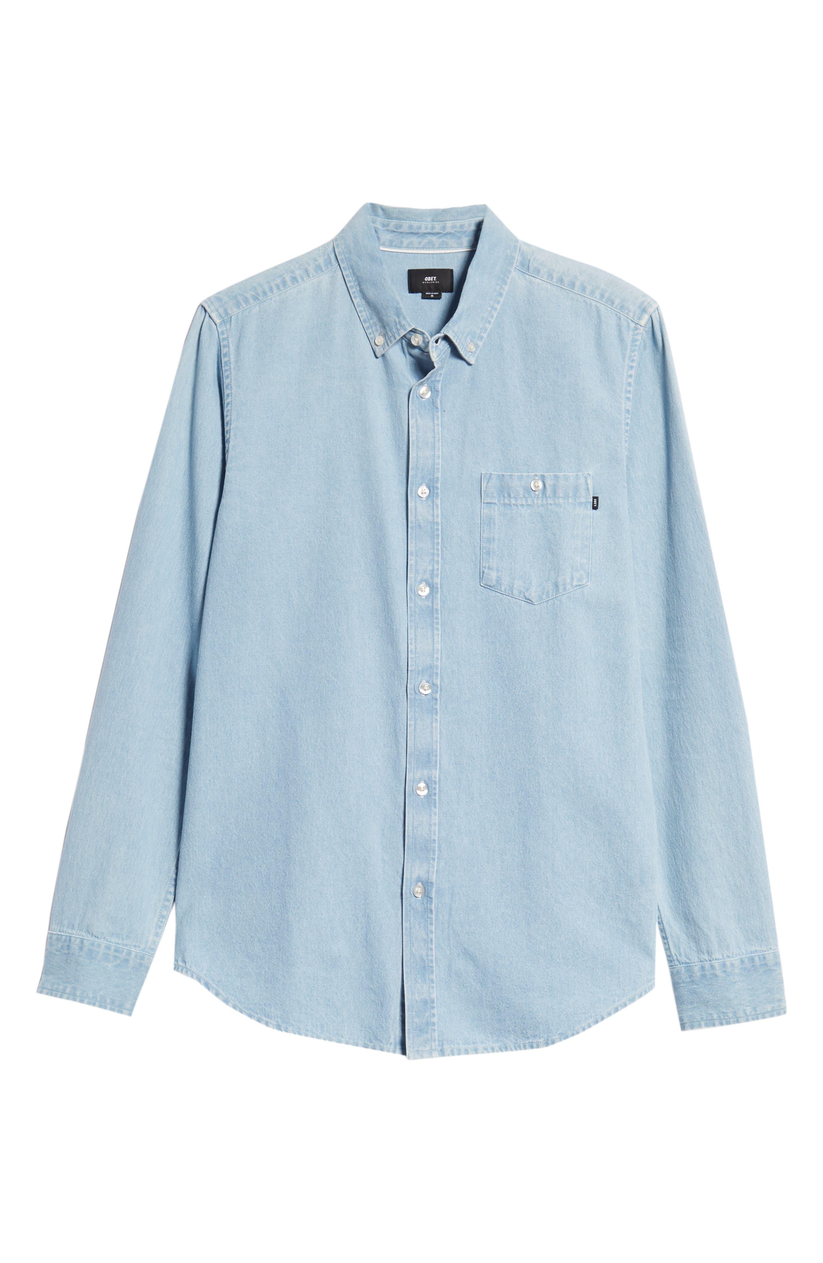 Keble Chambray Shirt,                             Alternate thumbnail 5, color,                             BLUE
