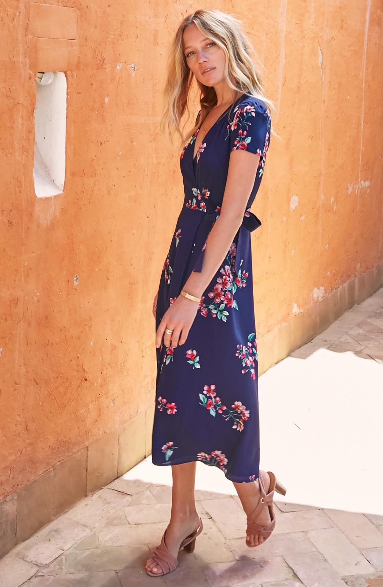 Amber Floral Silk Wrap Dress,                             Alternate thumbnail 8, color,                             400