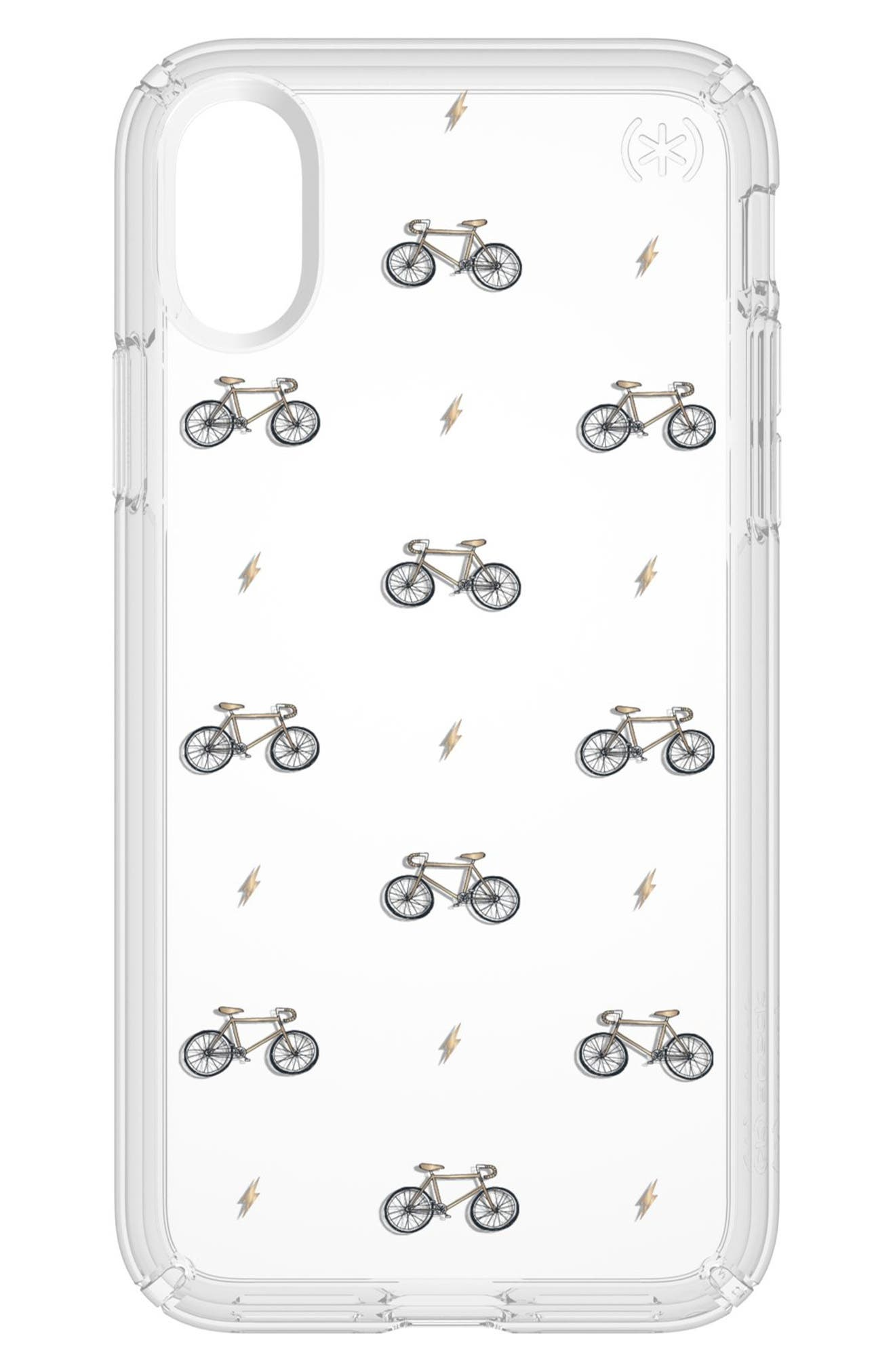 SPECK,                             Bikes & Bolts Transparent iPhone X & Xs Case,                             Main thumbnail 1, color,                             BIKES N BOLTS YELLOW/ CLEAR