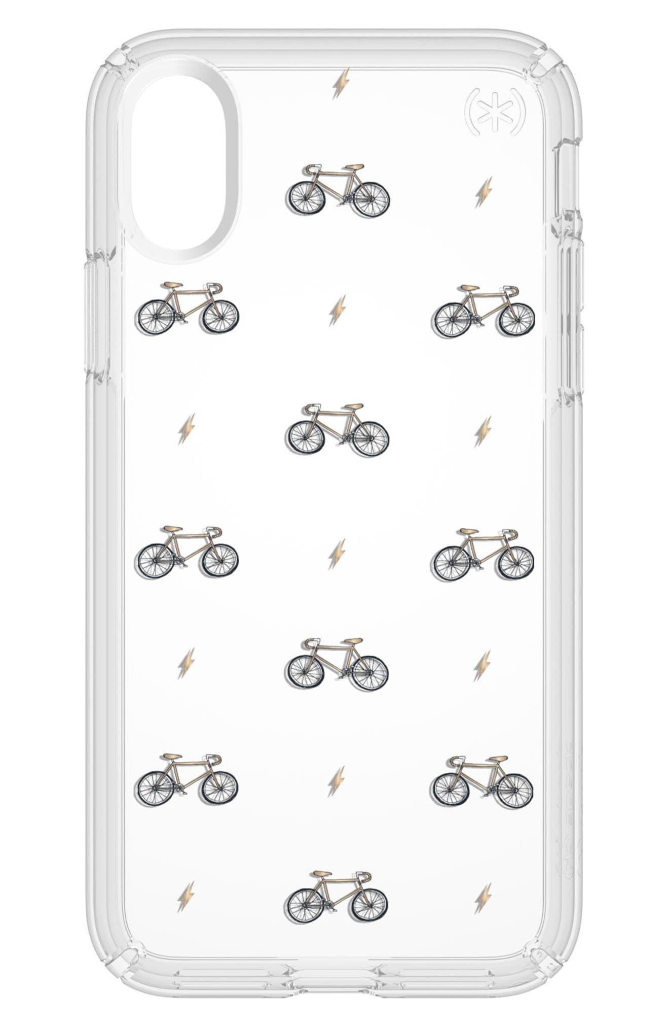 Bikes & Bolts Transparent iPhone X & Xs Case,                             Main thumbnail 1, color,                             BIKES N BOLTS YELLOW/ CLEAR