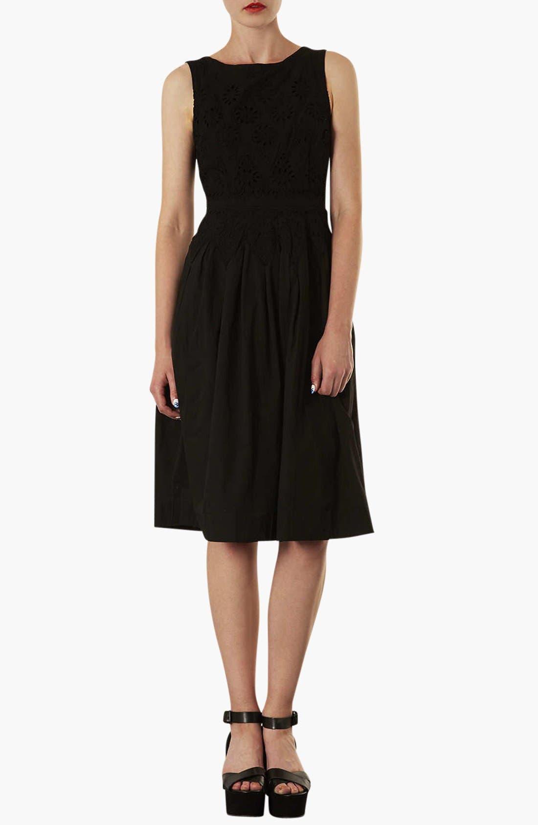Broderie Midi Dress,                             Main thumbnail 1, color,                             001