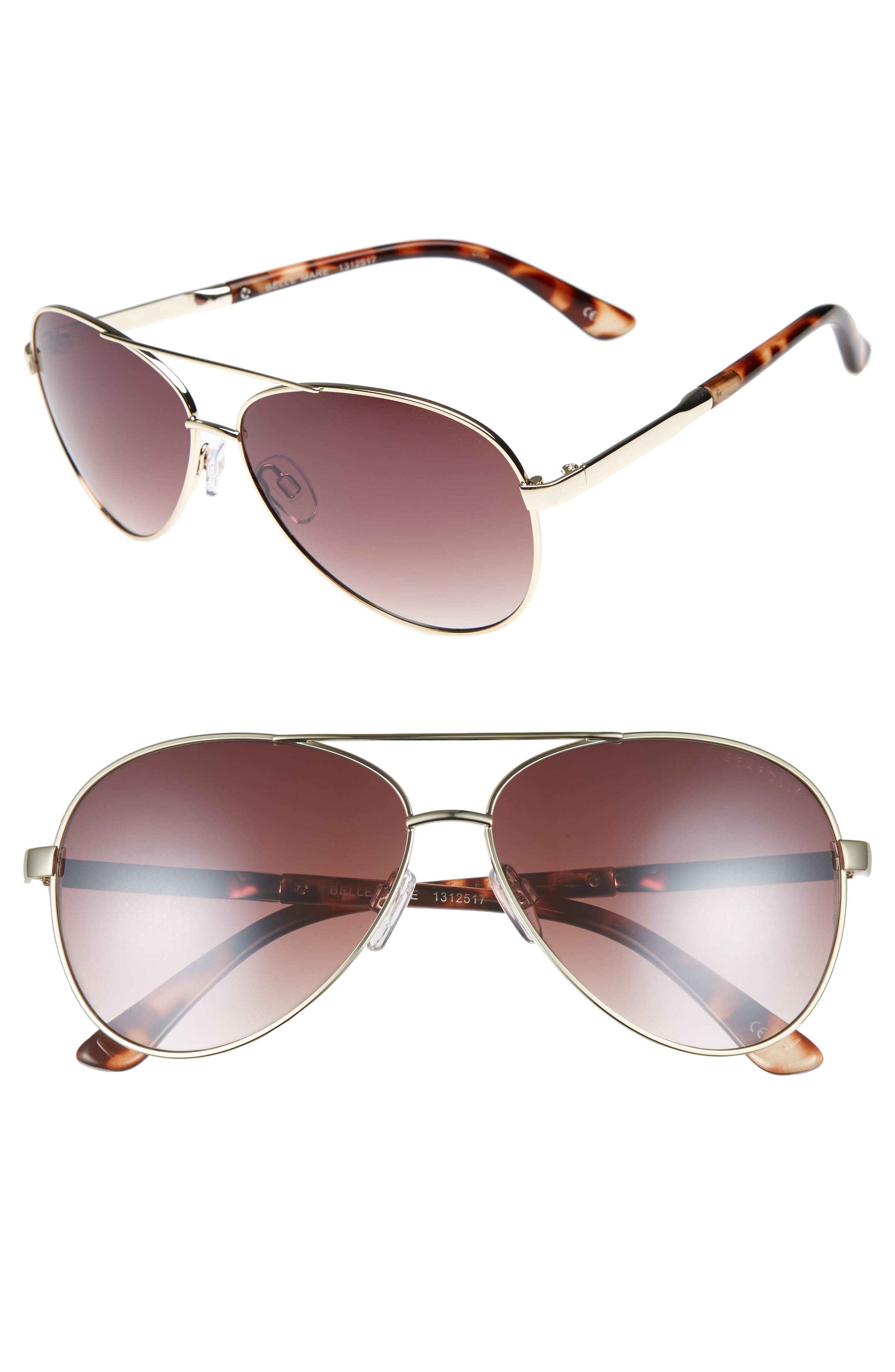 Belle Mare 54mm Aviator Sunglasses,                         Main,                         color, GOLD