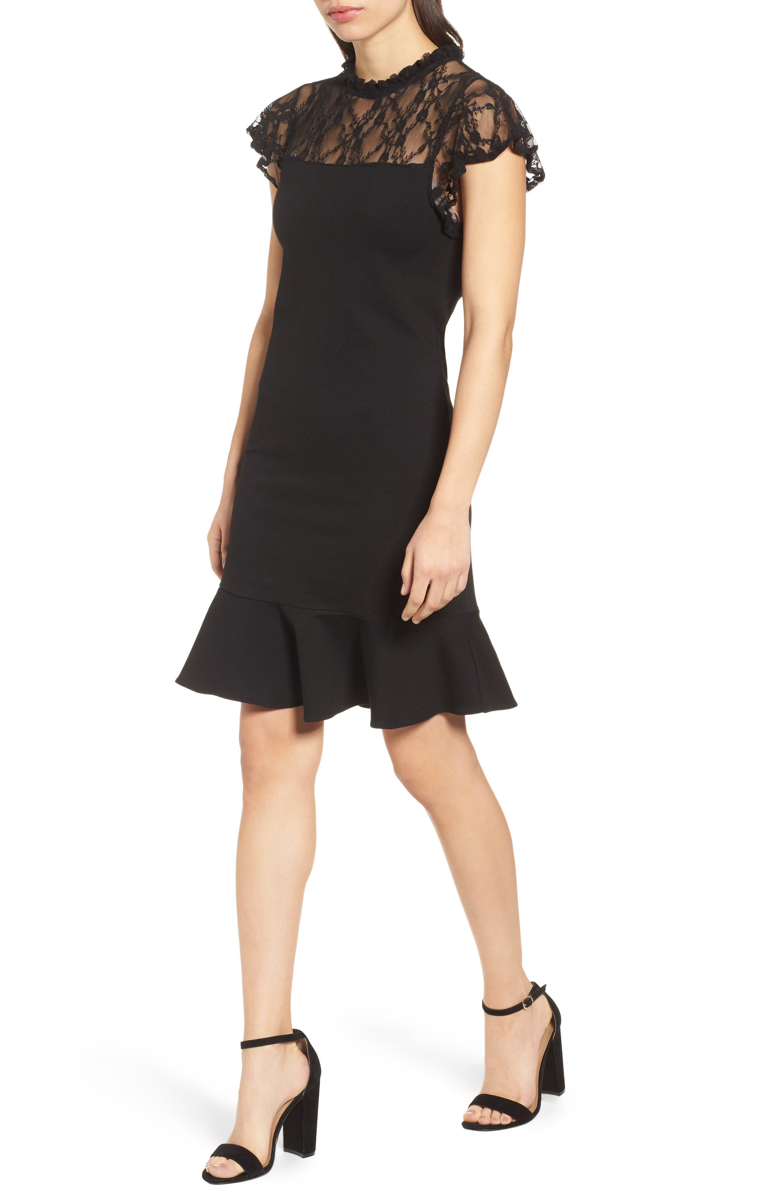 Lace Yoke Ruffled A-Line Dress,                             Main thumbnail 1, color,                             001