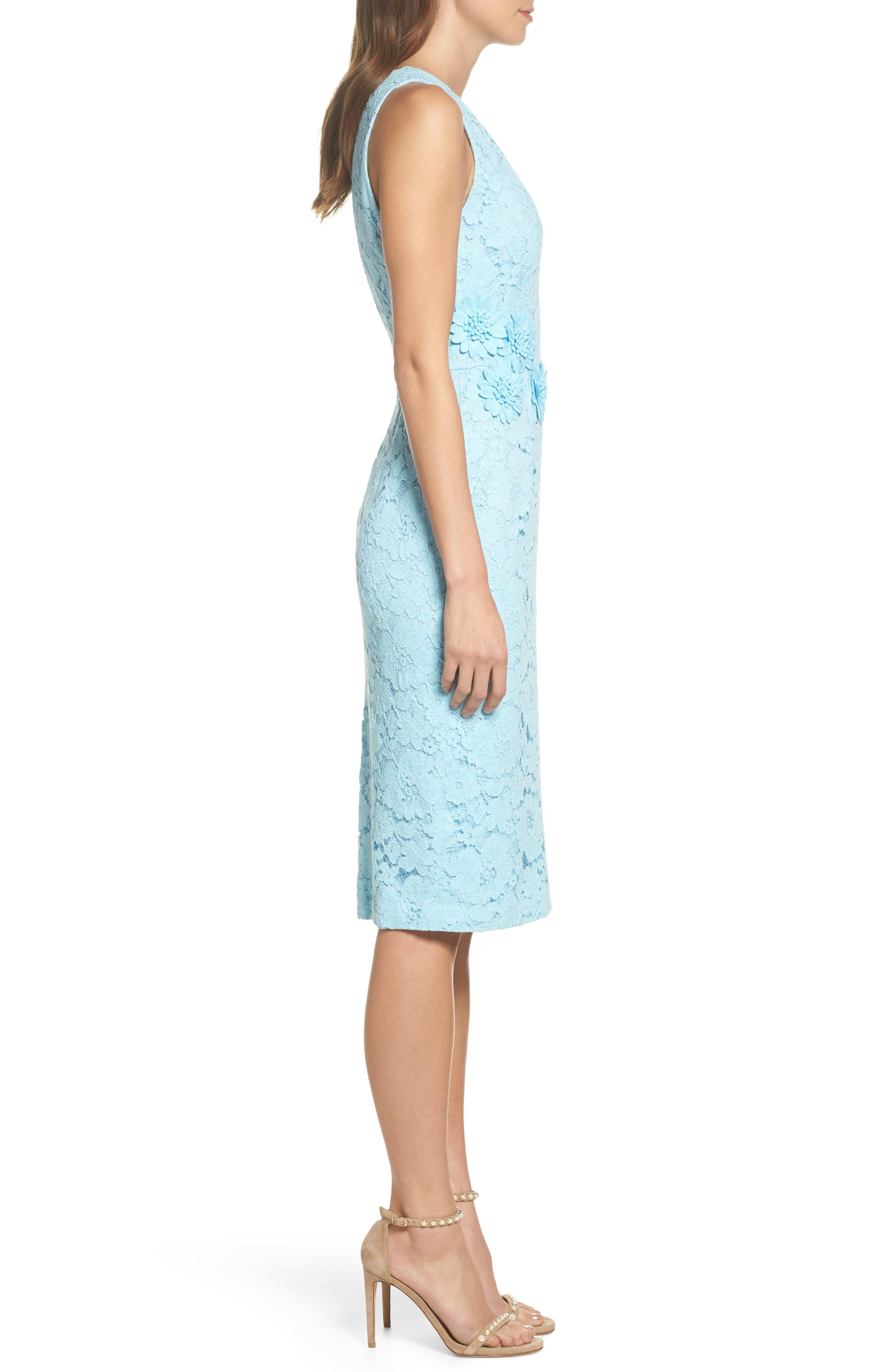Appliqué Lace Sheath Dress,                             Alternate thumbnail 3, color,                             460