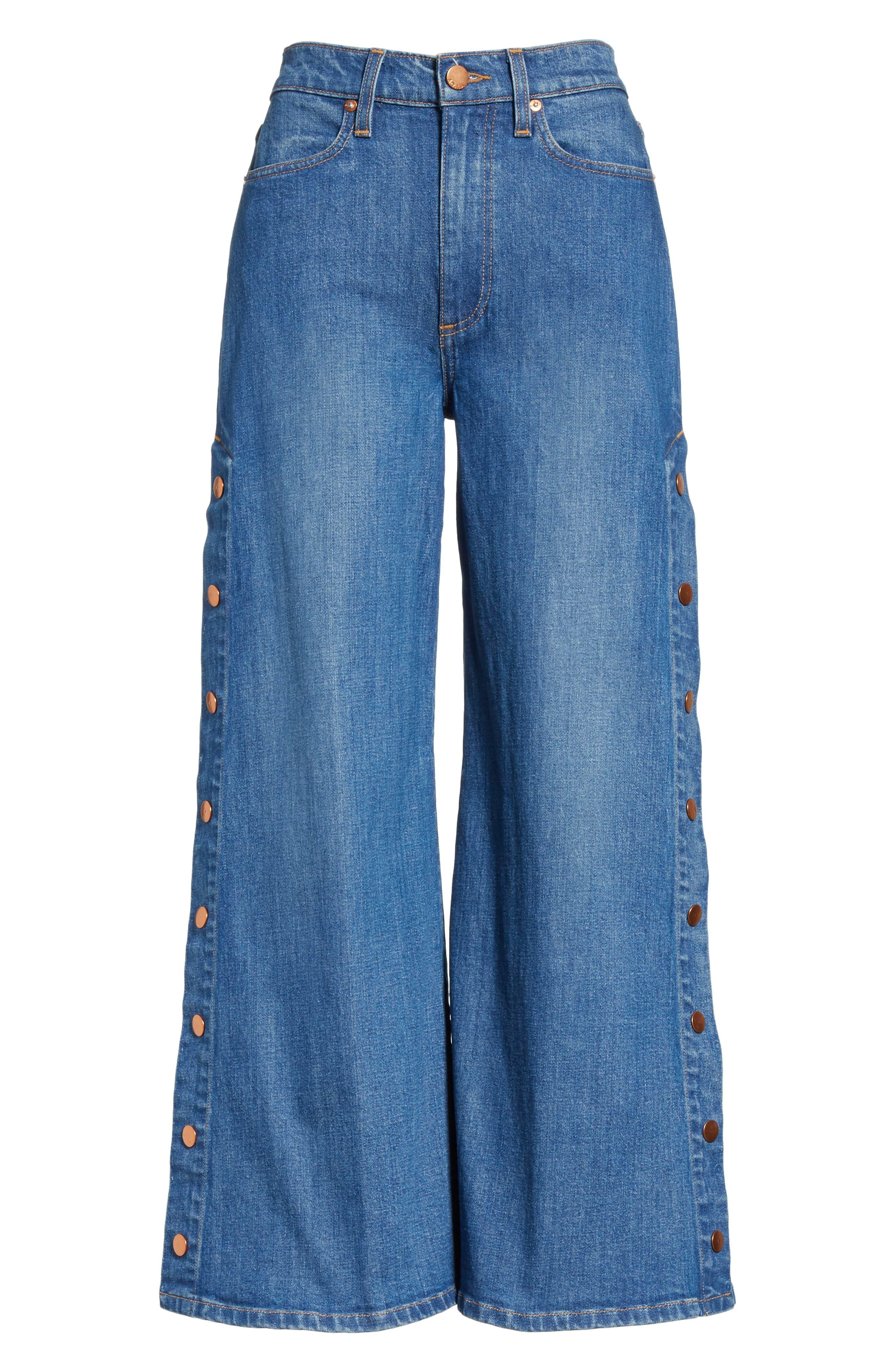 AO.LA Gorgeous Snap Side Crop Flare Jeans,                             Alternate thumbnail 6, color,                             460