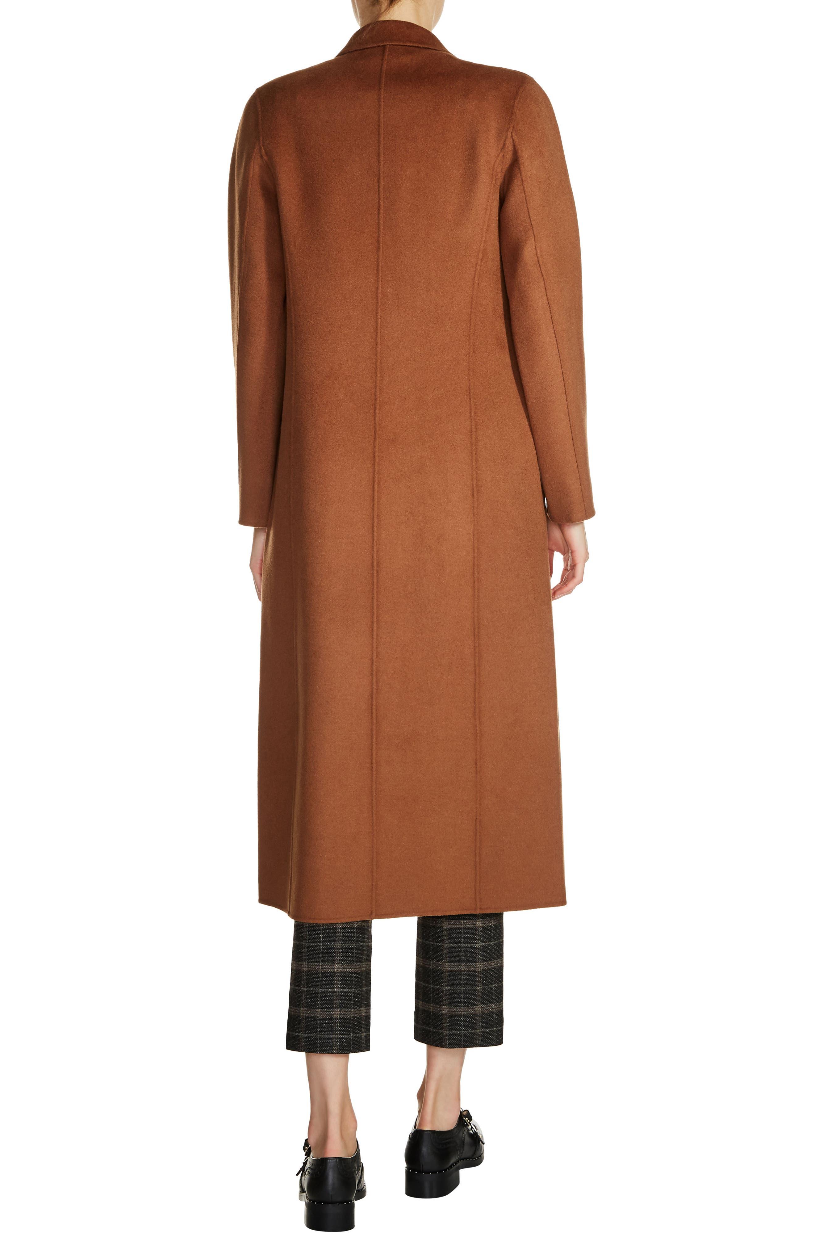 Long Double Face Wool Blend Coat,                             Alternate thumbnail 4, color,